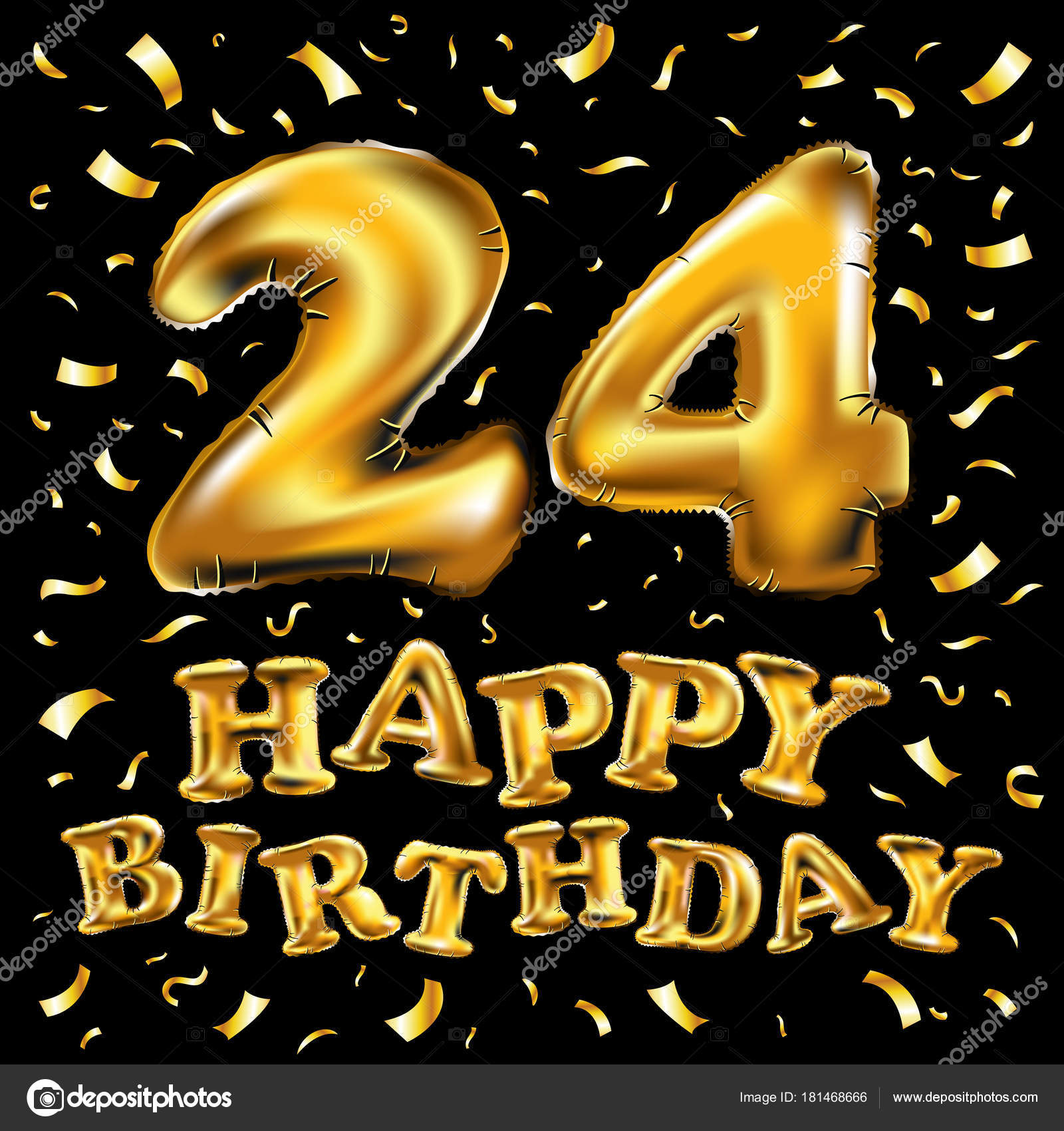24 Jaar Verjaardag Met Goud Gestileerde Nummer En Confetti
