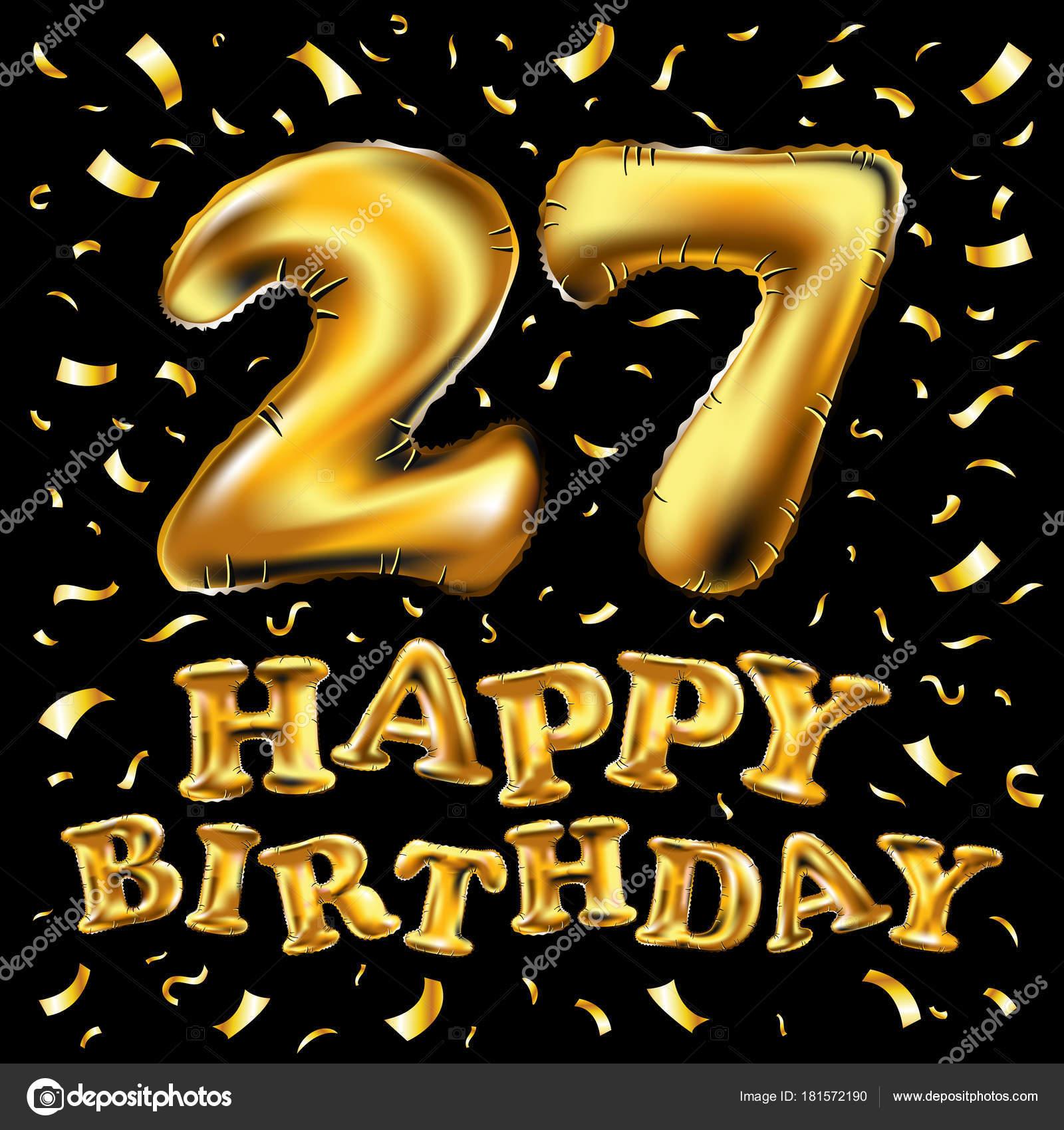 27e Verjaardag Met Gouden Ballonnen En Kleurrijke Confetti Glitters