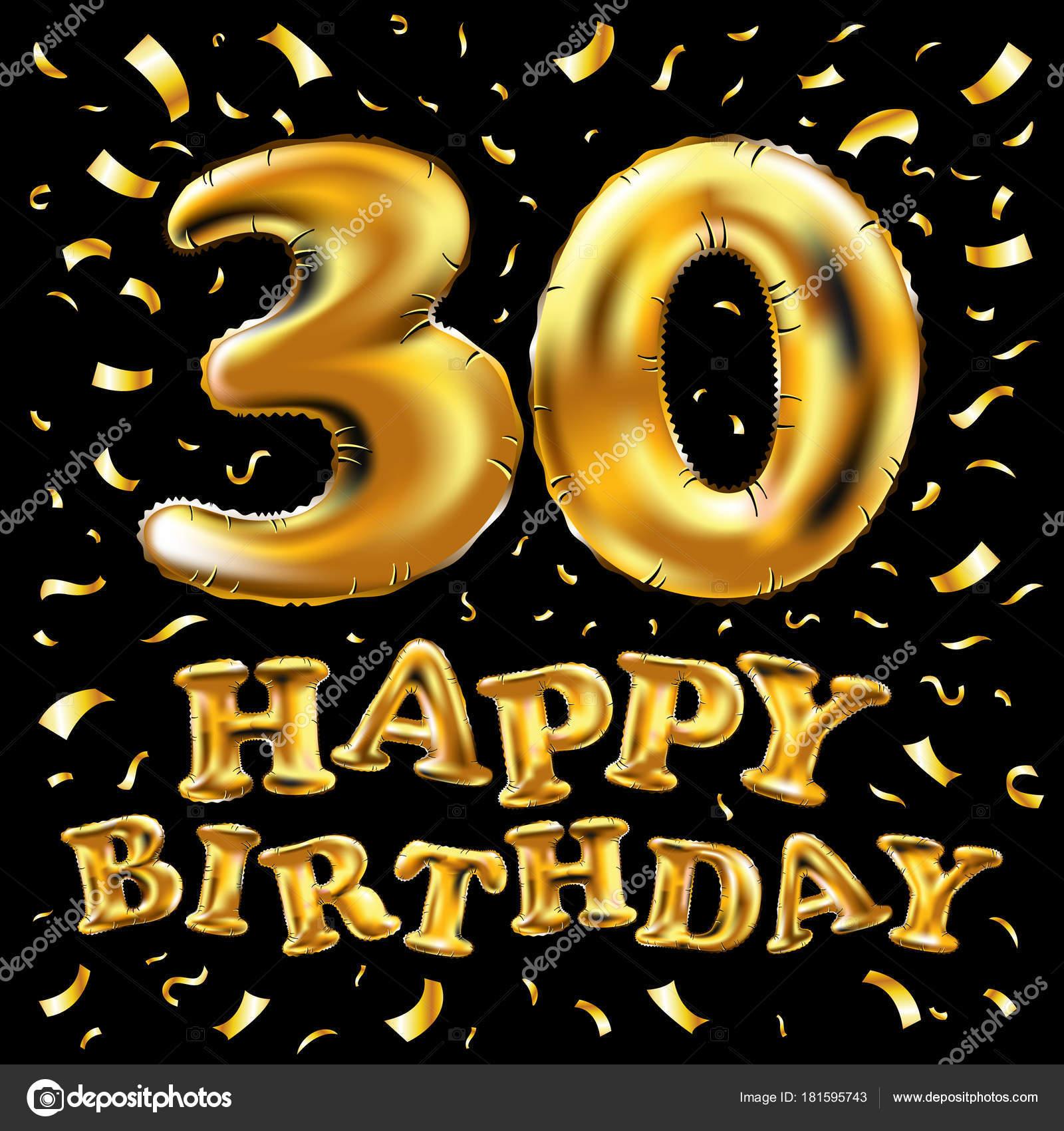 Vettore Di Buon Compleanno 30 Colpi Celebrazione Oro Palloncini E