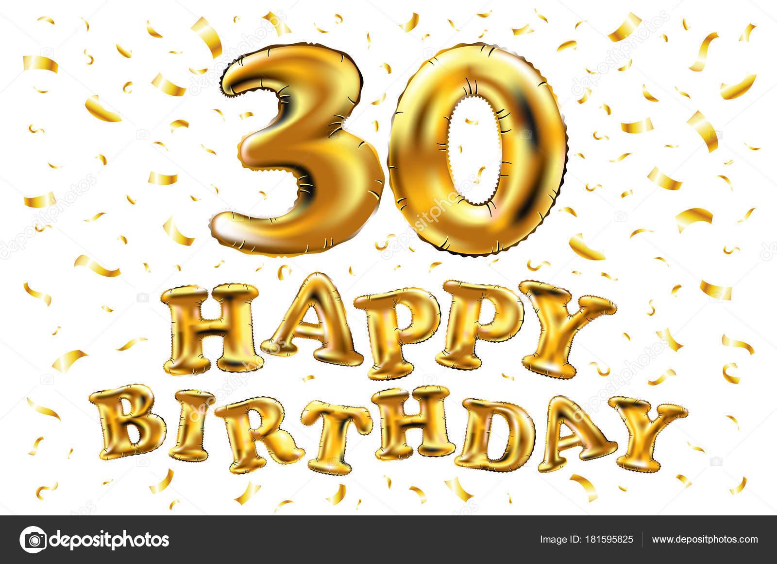 30e Verjaardag Met Gouden Ballonnen En Kleurrijke Confetti Glitters