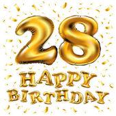 28 születésnapi ünnepség arany léggömbök és színes konfetti csillog. 3D-s illusztráció tervezése üdvözlőkártya, meghívó születésnapi és ünnep fél huszonnyolc éves évfordulója
