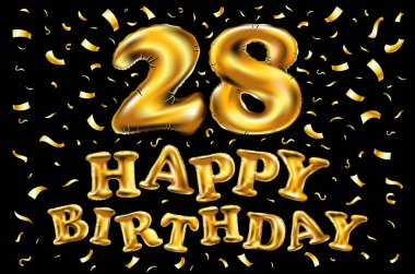 twenty eight years birthday celebration logotype. 28th anniversary logo with confetti and golden ring isolated on black background, vector design for greeting card and invitation card.