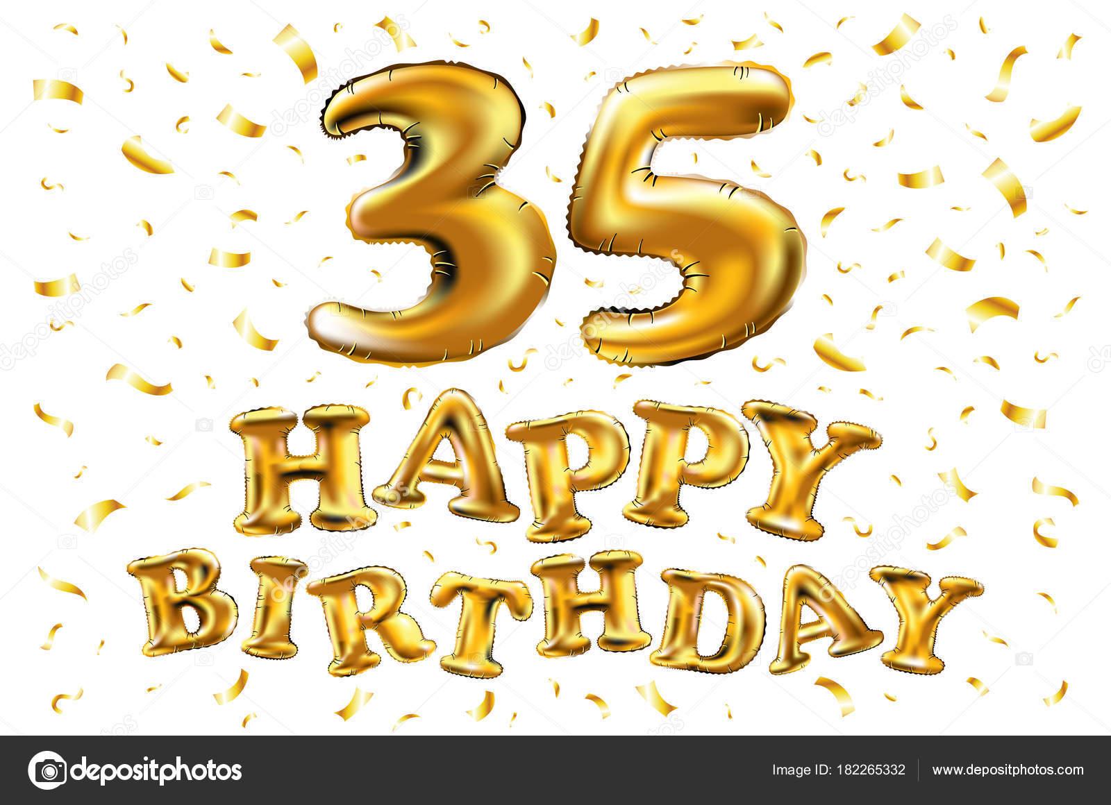 35e Verjaardag Met Gouden Ballonnen En Kleurrijke Confetti Glitters