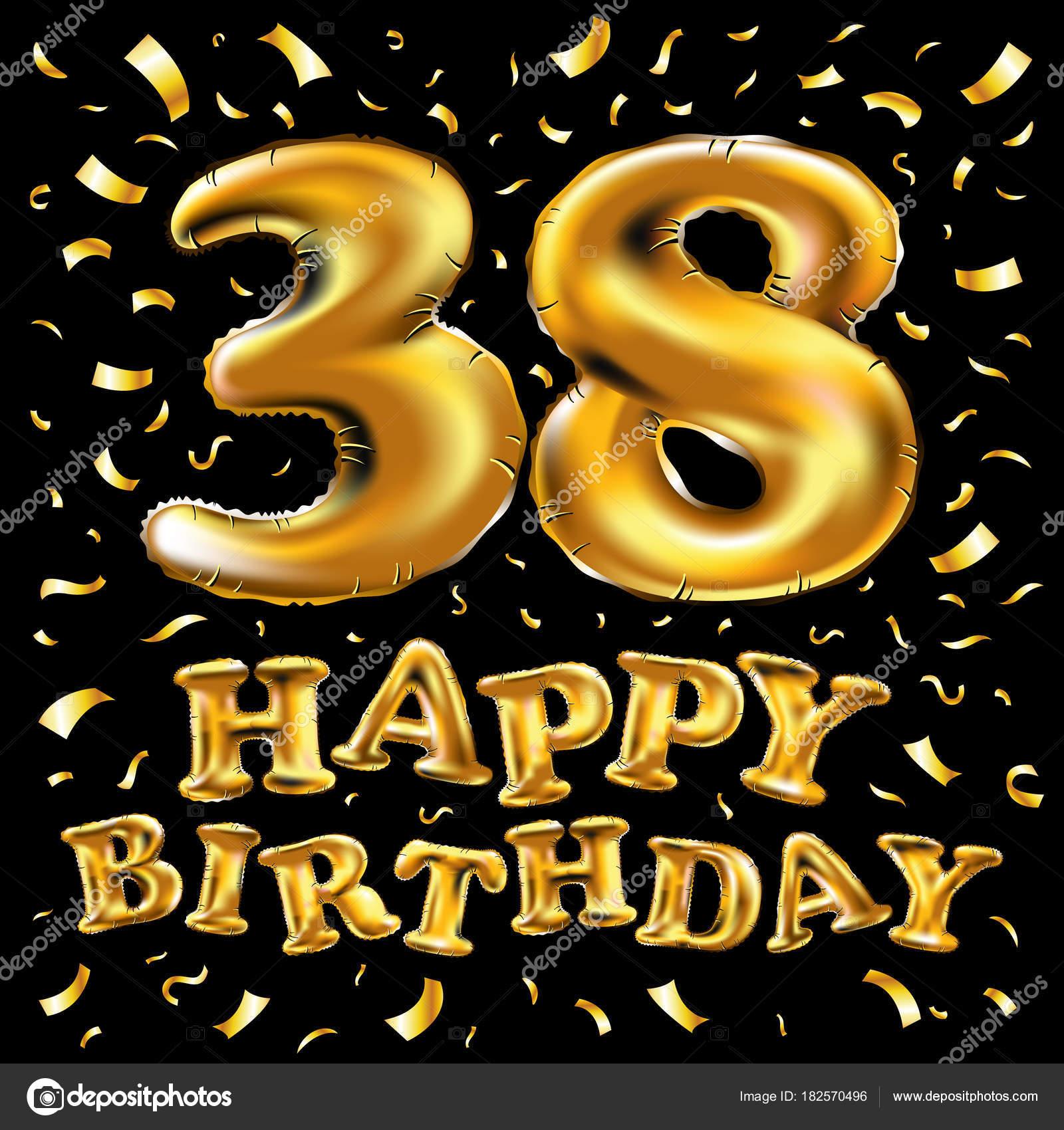 38 ° festa di compleanno con palloncini oro e brillantini