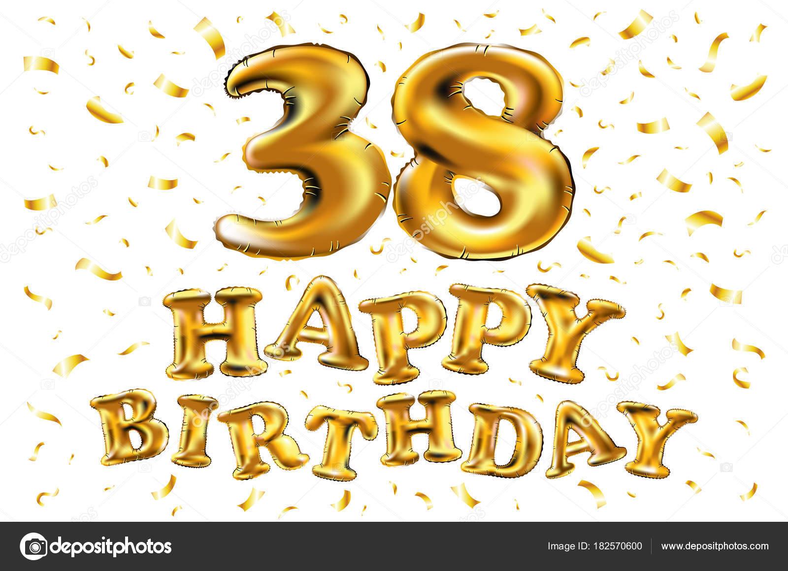 anniversario di 38 anni, felice compleanno di gioia. illustrazione