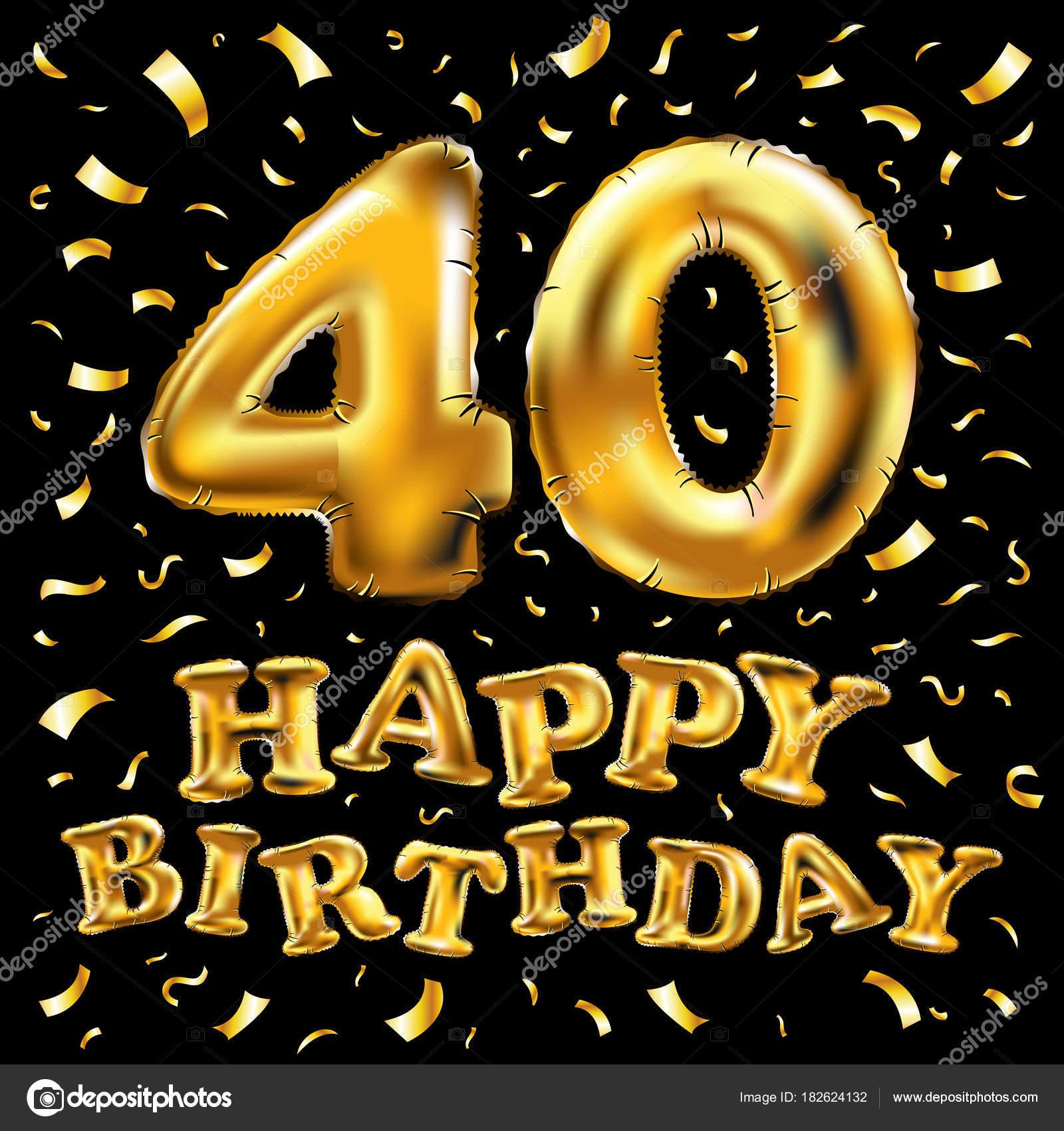 40ste Verjaardag Met Gouden Ballonnen En Kleurrijke Confetti