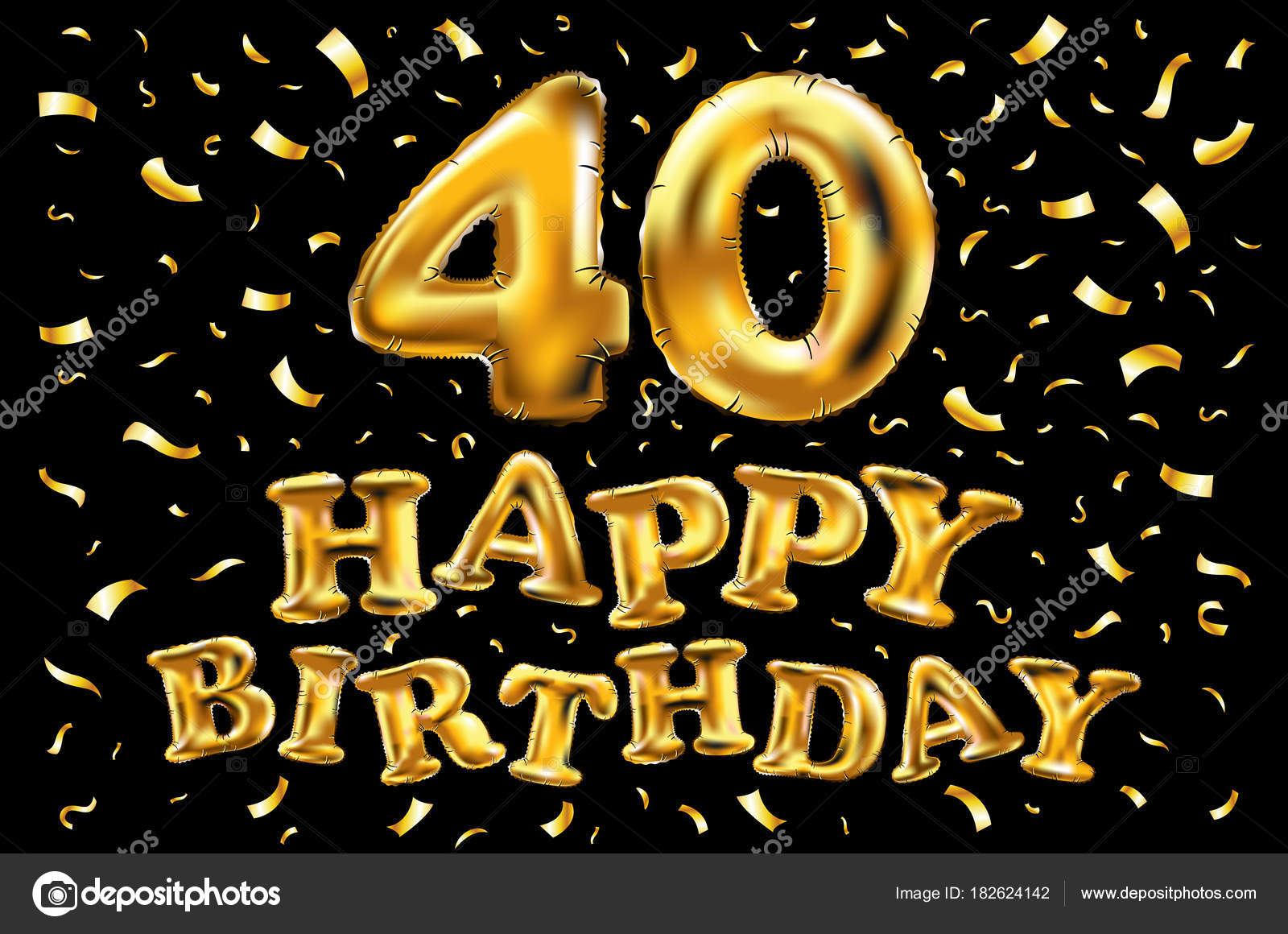 Festa 40 Compleanno Con Palloncini Oro E Brillantini Coriandoli