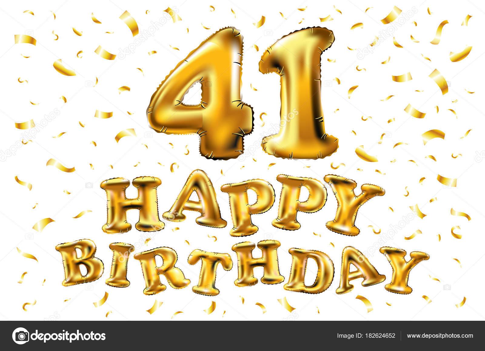 41 years golden aluminum foil balloon anniversary logotype with