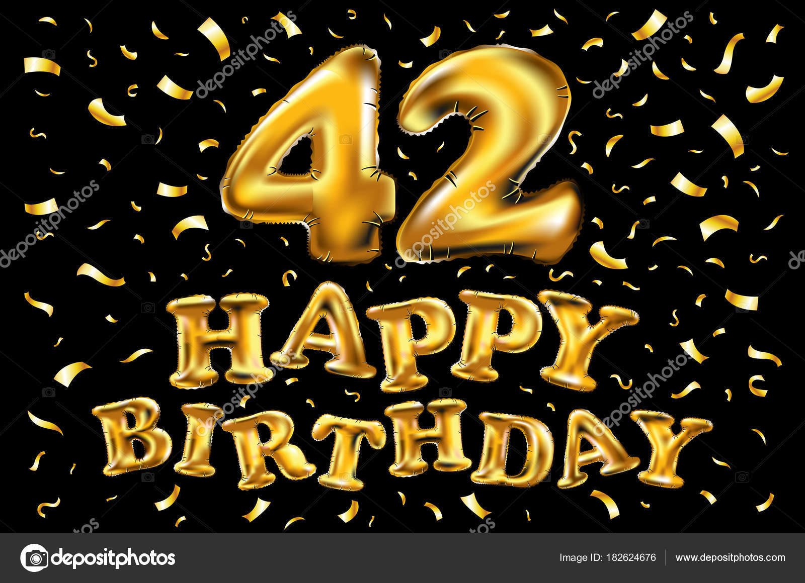 42 years anniversary with gold stylized number and confetti