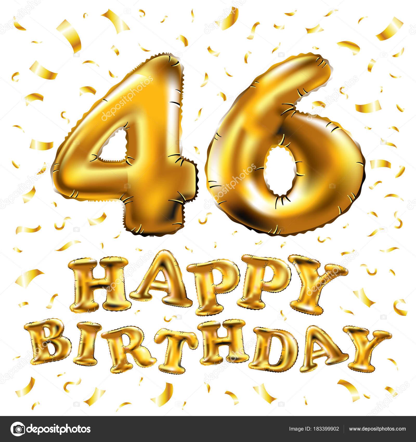 Felice Compleanno 46 Anni Anniversario Gioia Illustrazione 3d Con