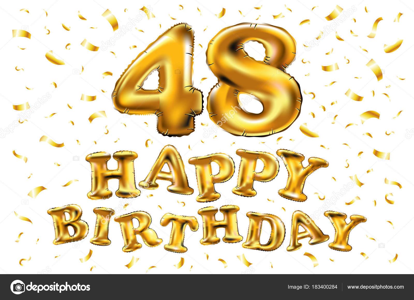 48 jaar 48 jaar gouden aluminiumfolie ballon verjaardag logo met gouden  48 jaar