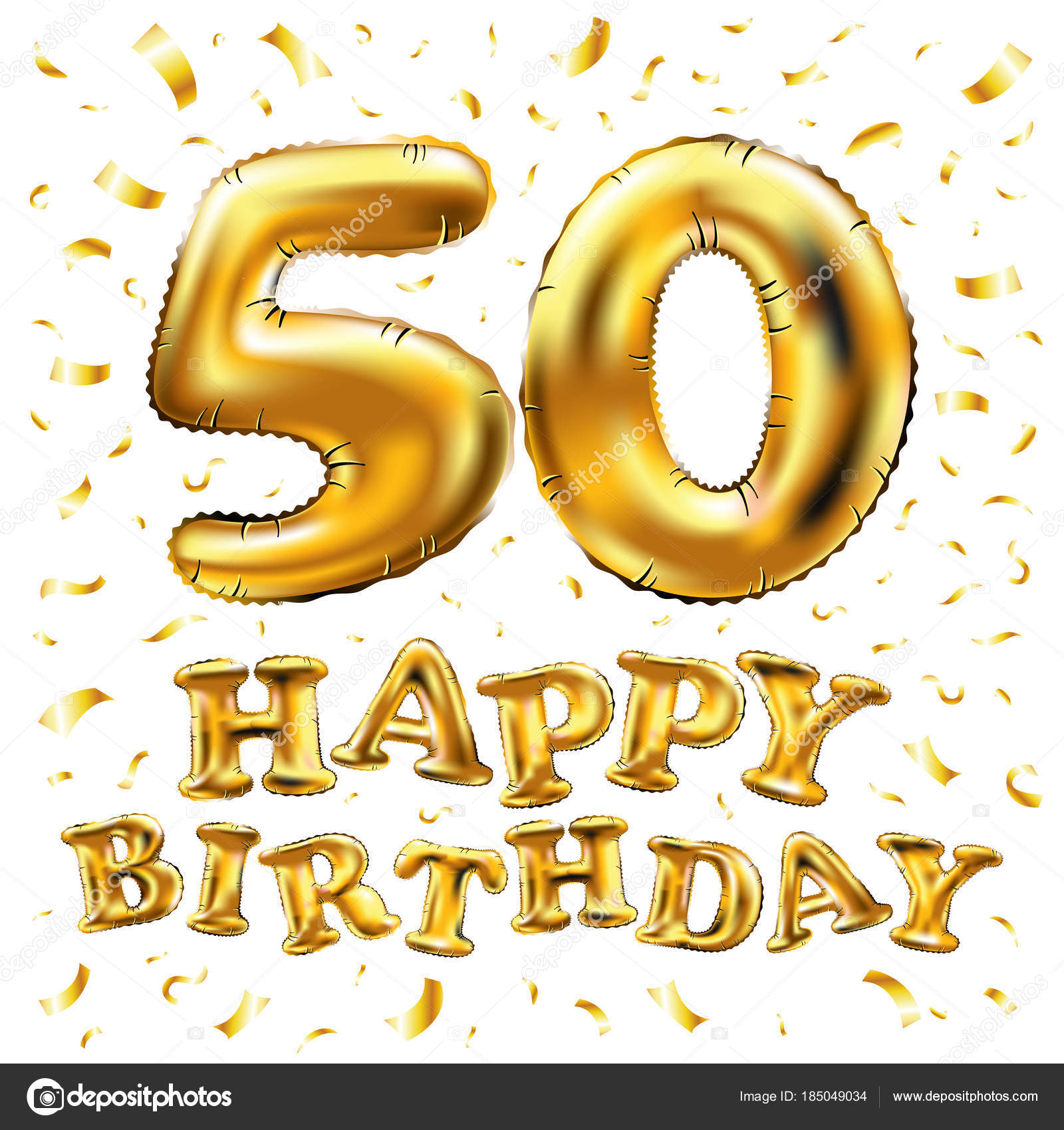 Vector Happy Birthday 50th Celebration Gold Balloons And