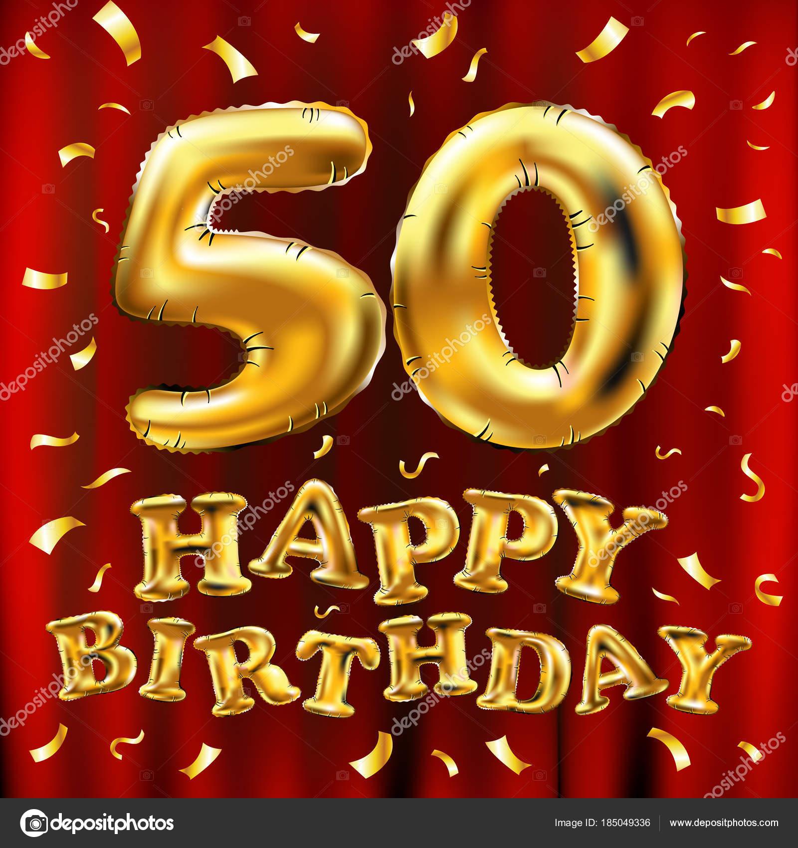 Vettore Di Buon Compleanno 50 Celebrazione Oro Palloncini E