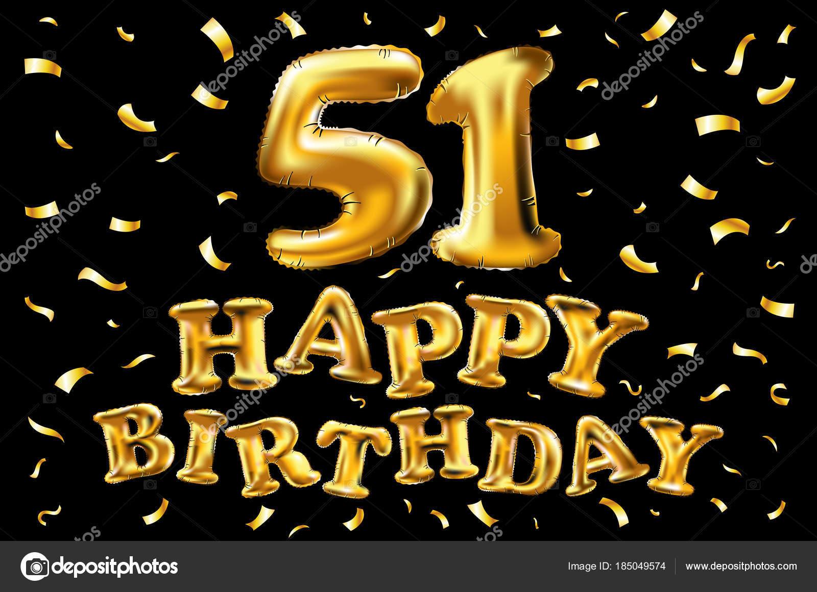 Vettore Di Buon Compleanno 51a Celebrazione Oro Palloncini E