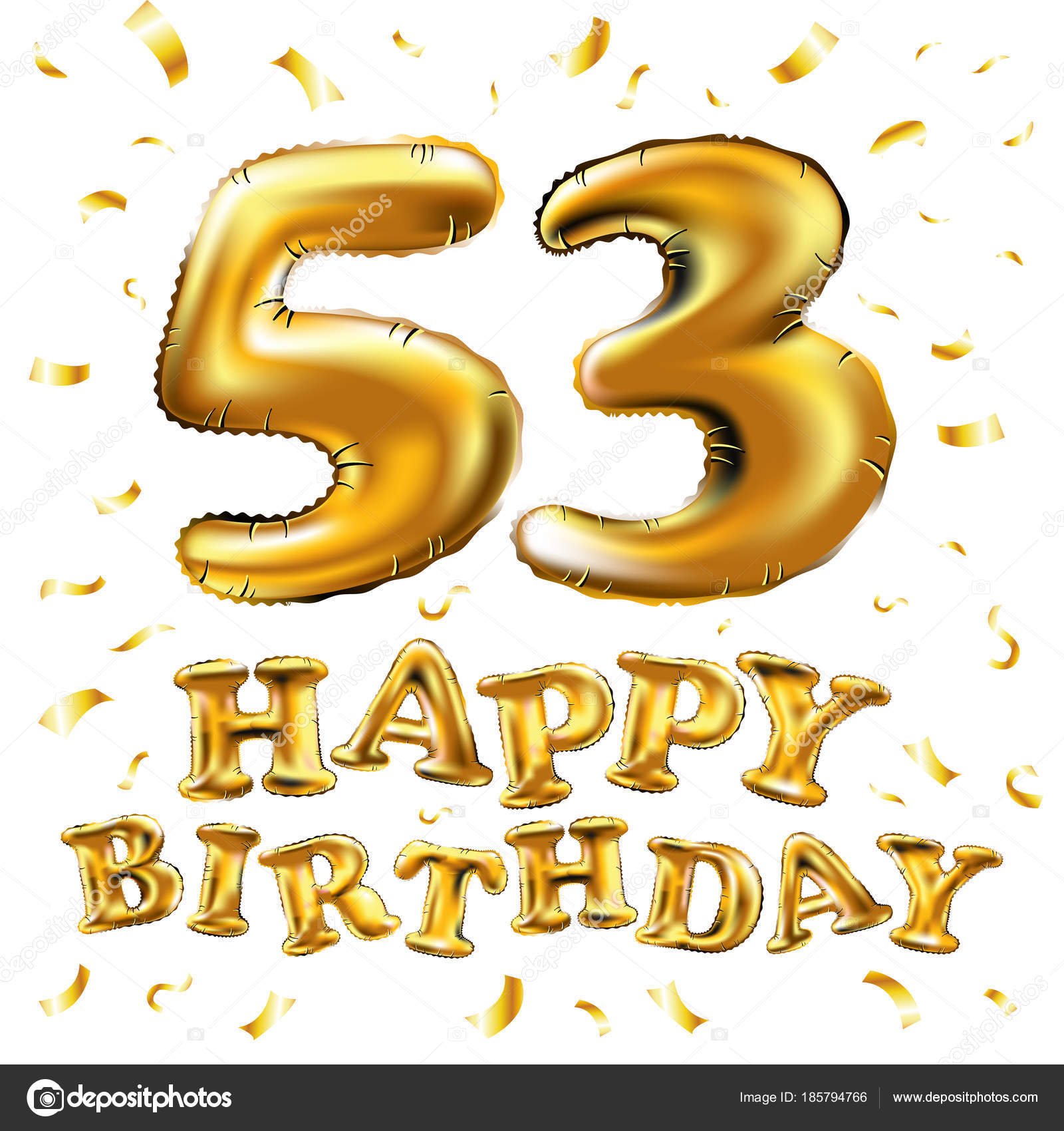 3d Illustration design for your greeting card, invitation and Celebration  party of fifty three 53 years — Vector by [email protected].com