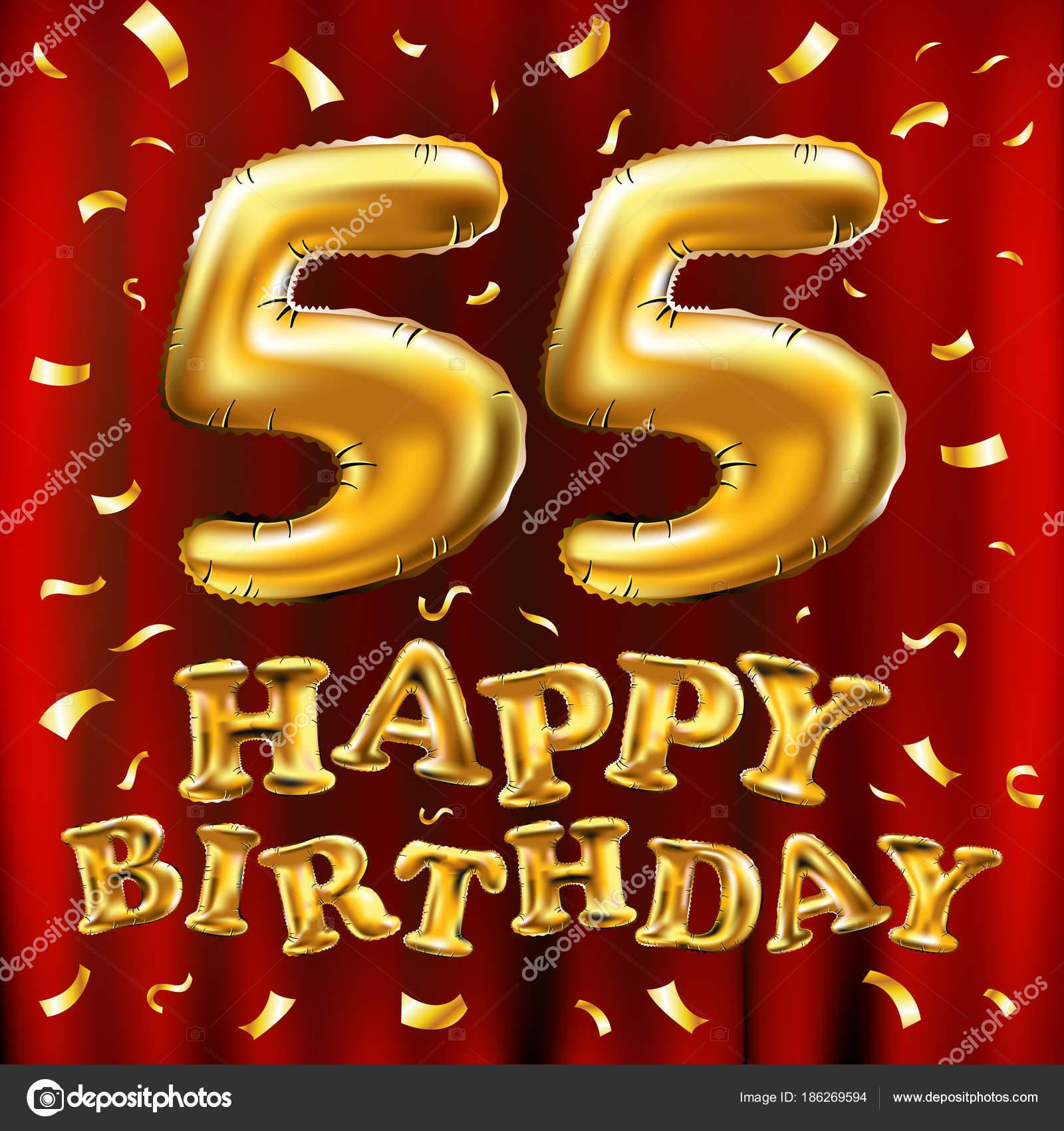 Vector Gelukkige Verjaardag 55e Viering Gouden Ballonnen En Confetti