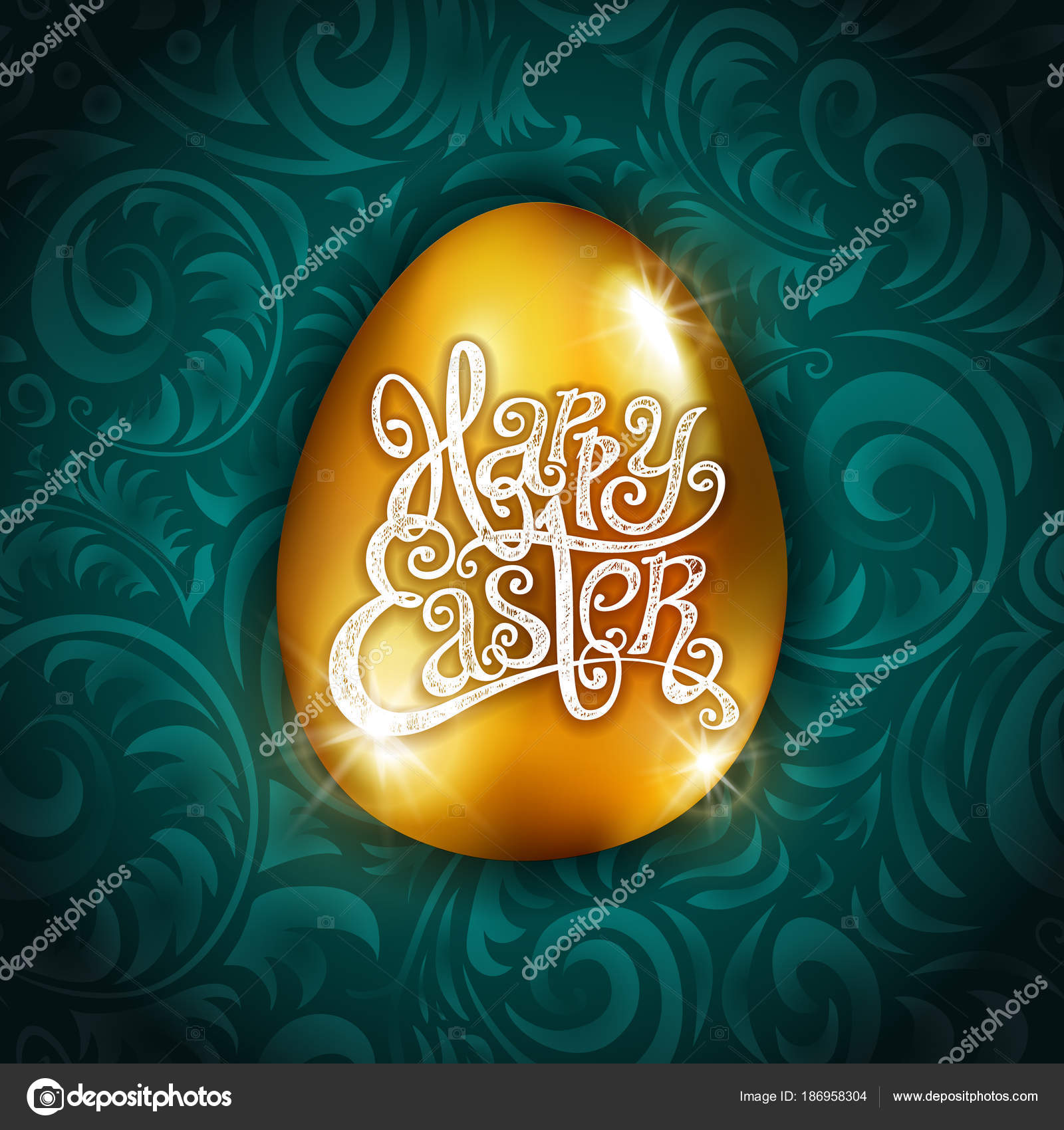 Vector gold foil happy easter greeting golden egg card blue vector gold foil happy easter greeting golden egg card blue background joyful wishes holiday greetings art vector by romanchikslangmail m4hsunfo
