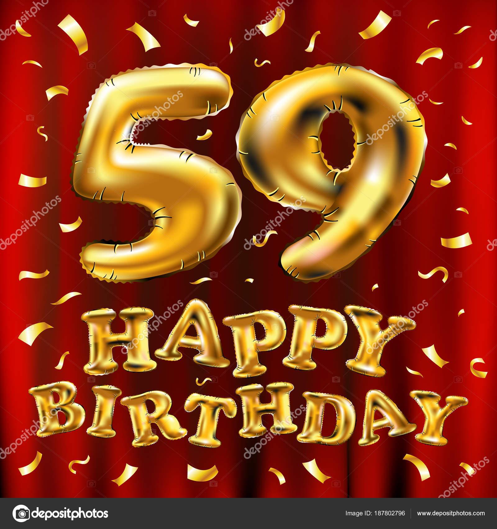 Vettore Di Buon Compleanno 59a Celebrazione Oro Palloncini E