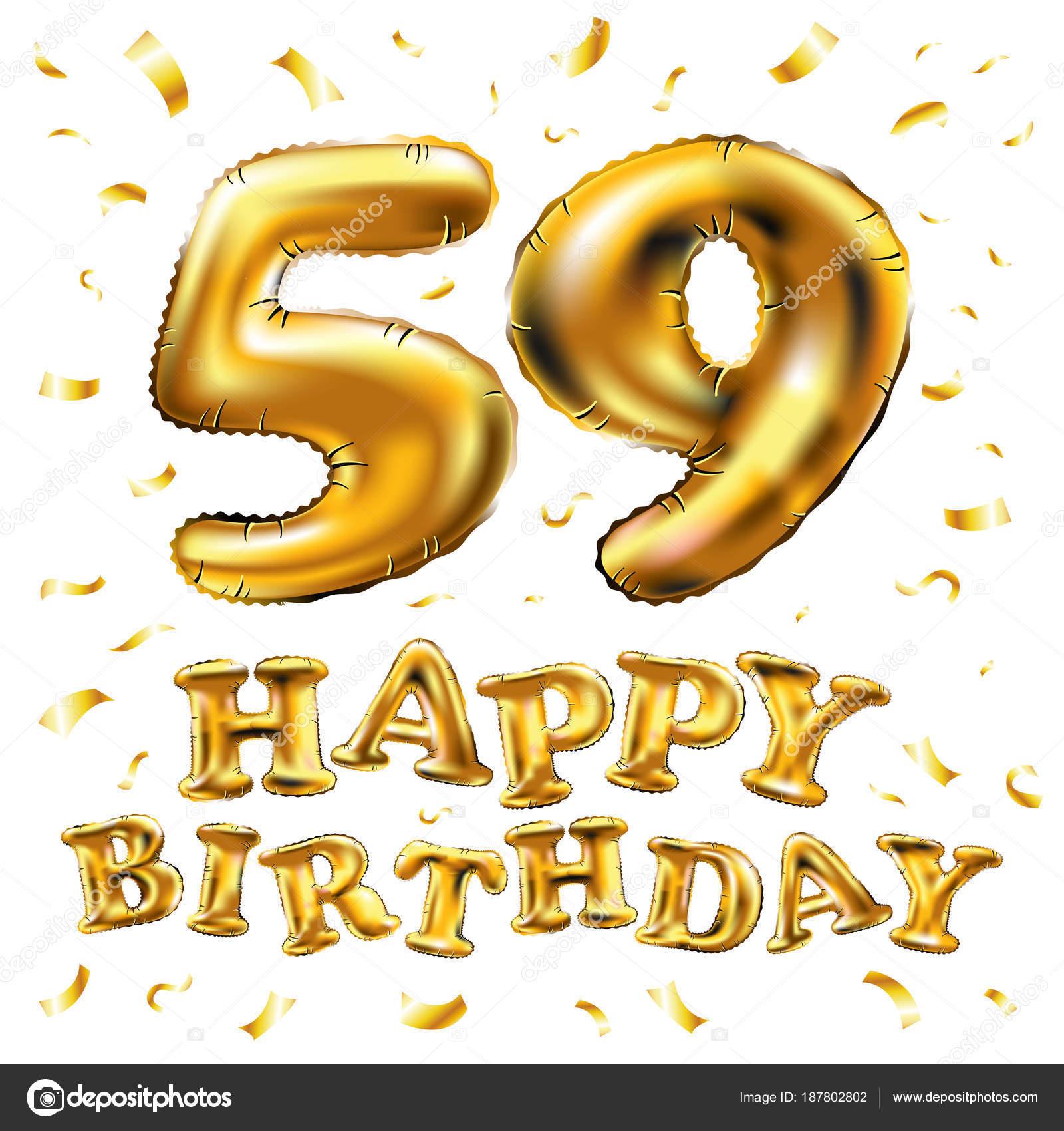 Vector Gelukkige Verjaardag 59e Viering Gouden Ballonnen En Confetti