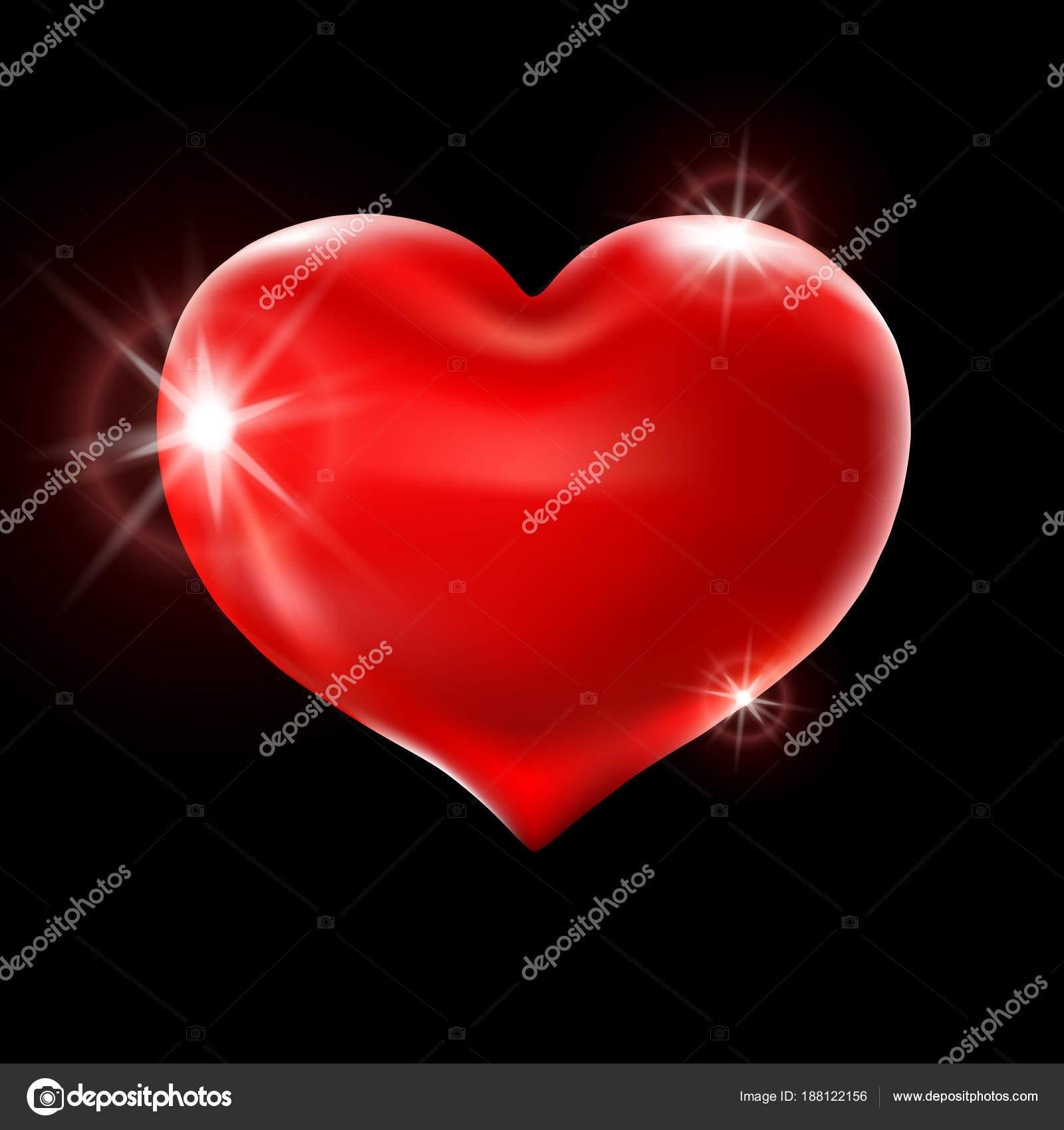 Grande Cuore Rosso Su Sfondo Nero Vector Festa Palloncini Luccica