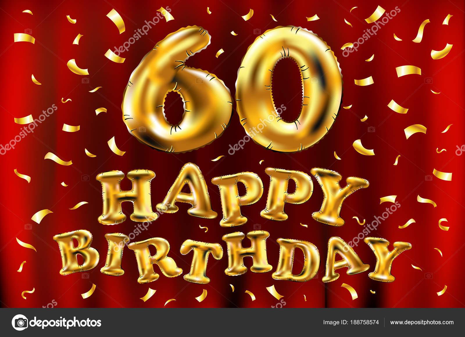 Vettore Di Buon Compleanno 60 Celebrazione Oro Palloncini E