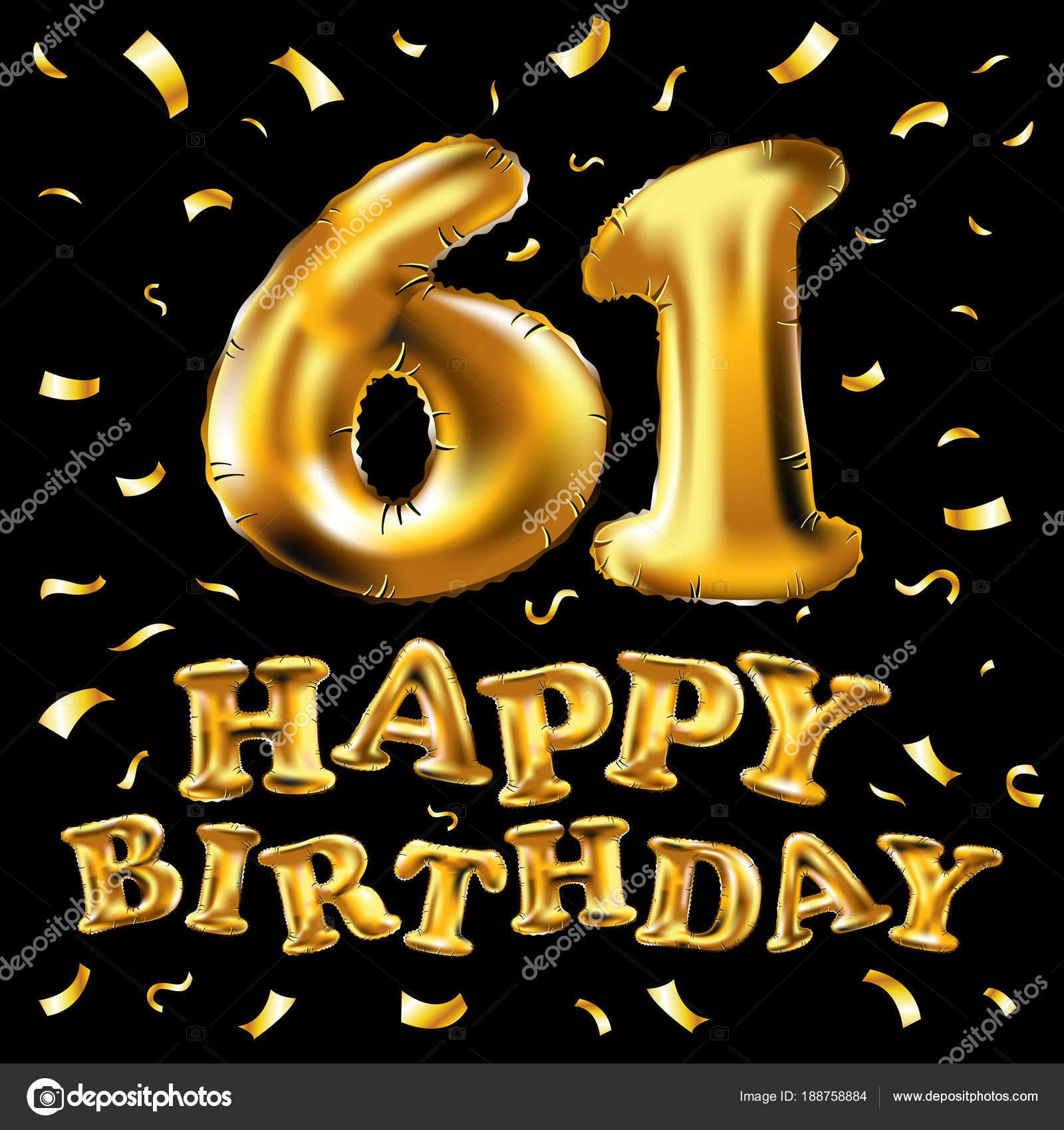 vettore di buon compleanno 61 ° celebrazione oro palloncini e