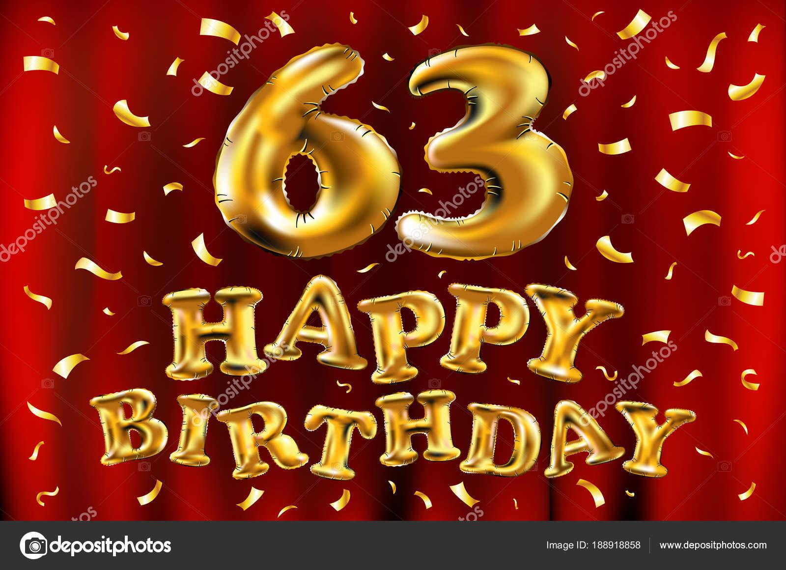 vettore di buon compleanno 63th celebrazione oro palloncini e