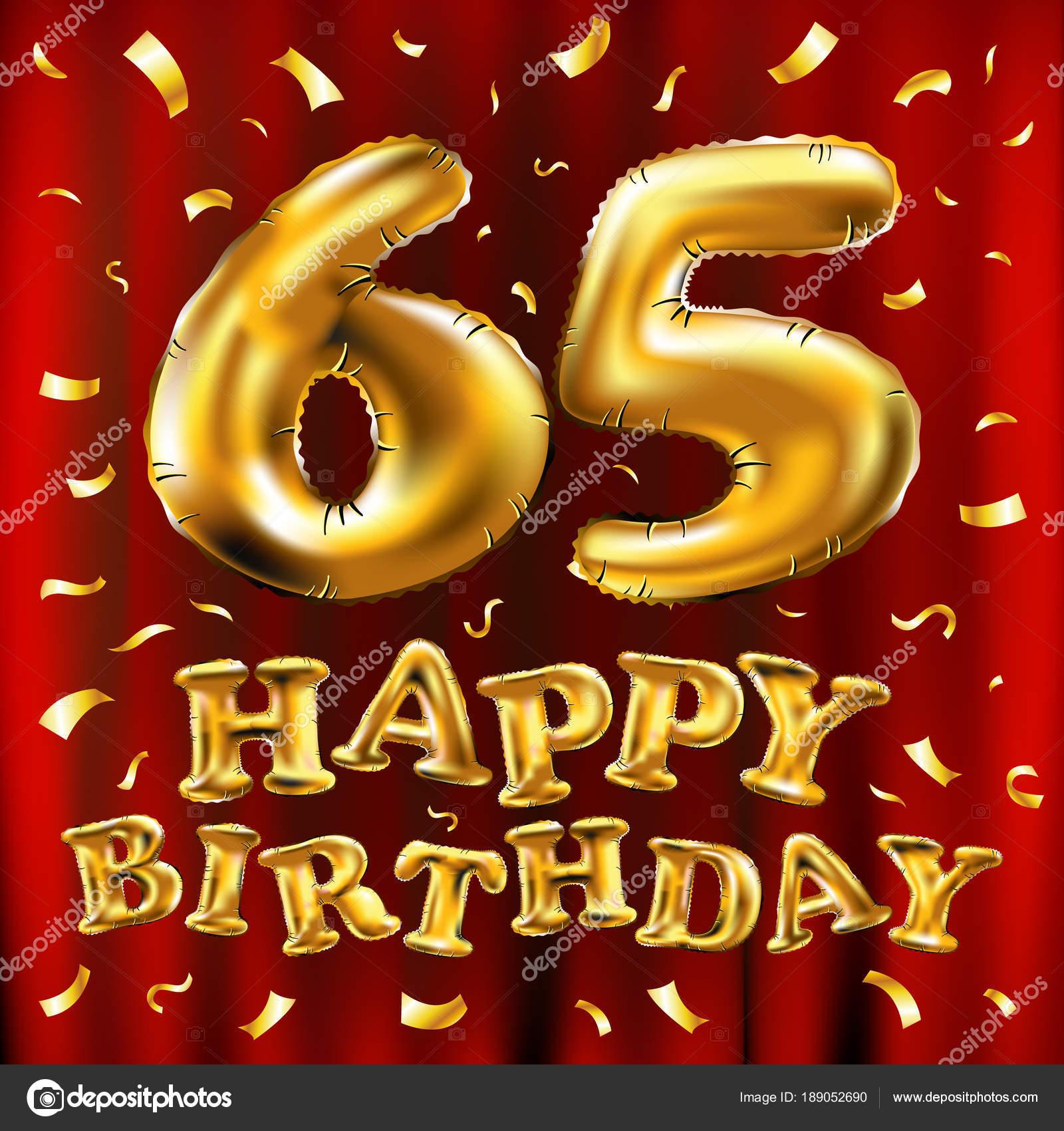 Auguri Di Buon Compleanno 65 Anni.Vettore Di Buon Compleanno 65th Celebrazione Oro Palloncini