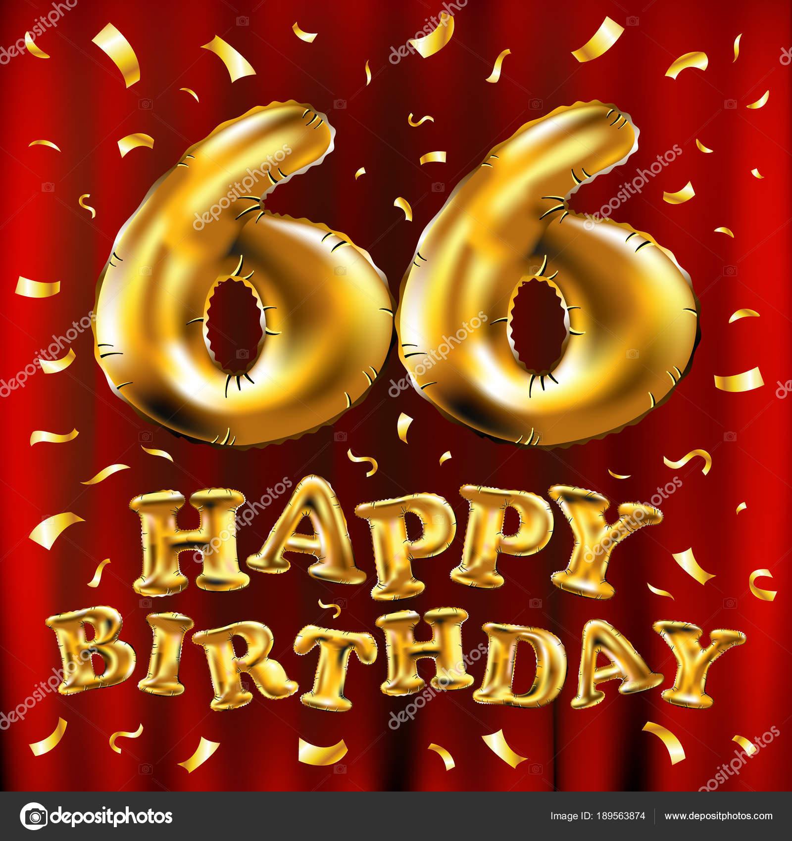 Auguri Buon Compleanno 66 Anni.Vettore Di Buon Compleanno 66 Celebrazione Oro Palloncini