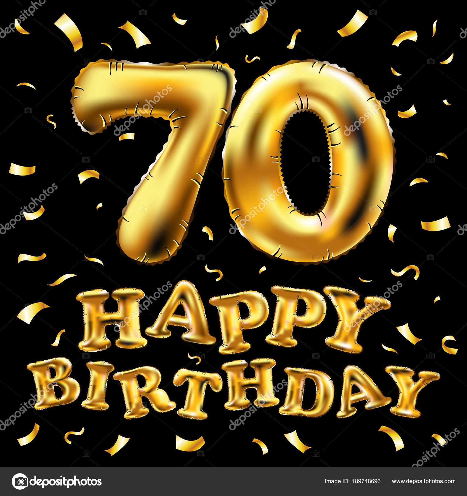 Vector De Feliz Cumpleaños 70 Celebración Oro Globos Y