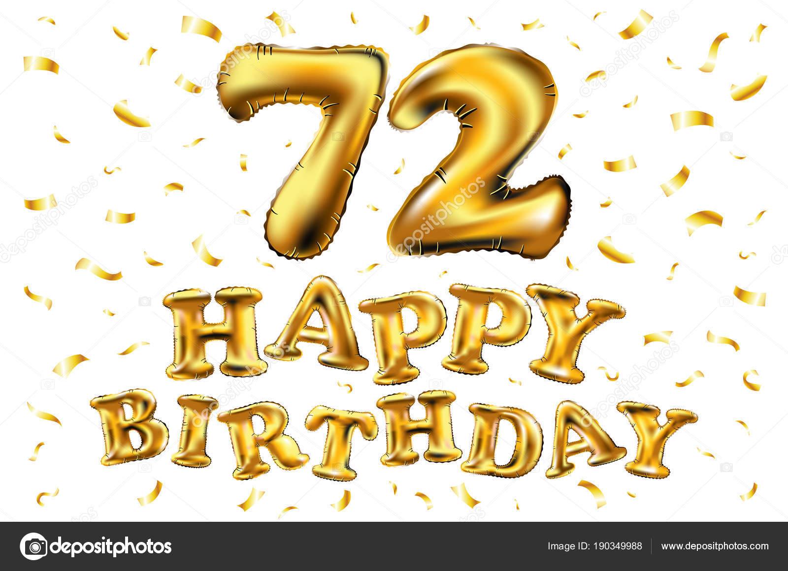 72 years anniversary, happy birthday joy celebration. 3d Illustration with  brilliant gold balloons &