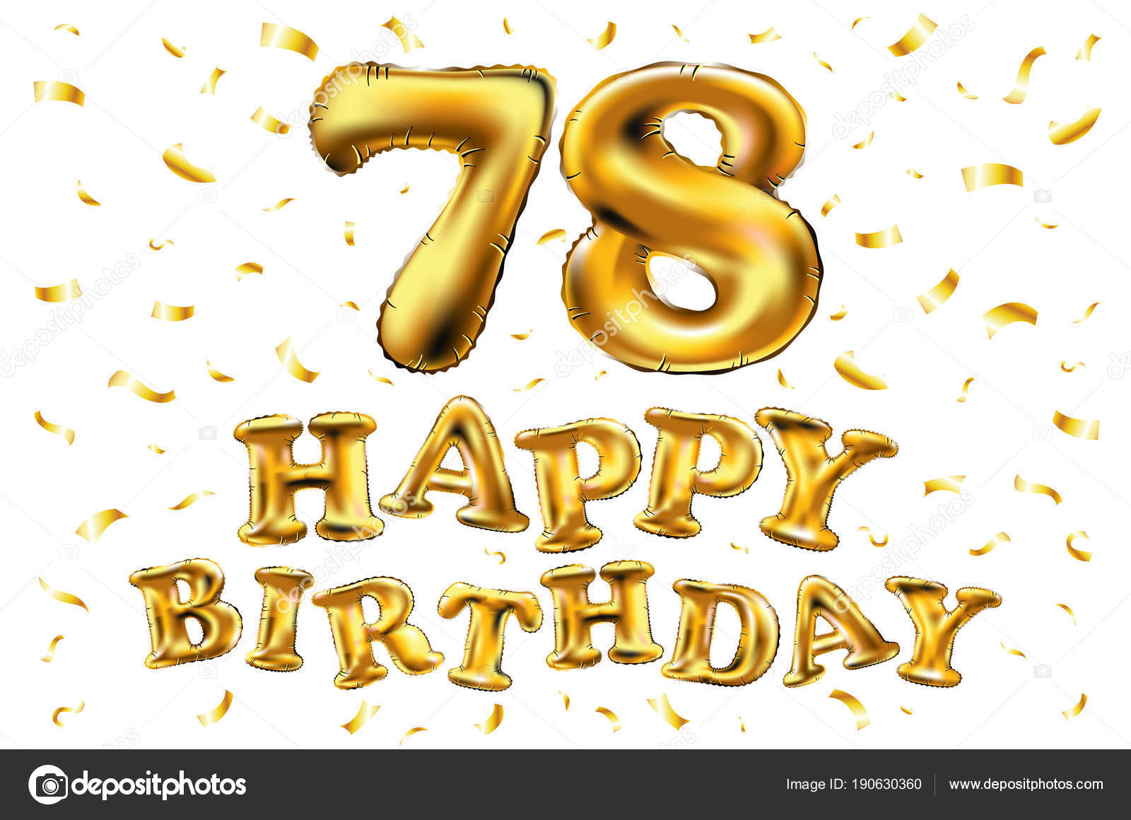Auguri Di Buon Compleanno 78 Anni.Vettore Di Buon Compleanno 78 Celebrazione Oro Palloncini