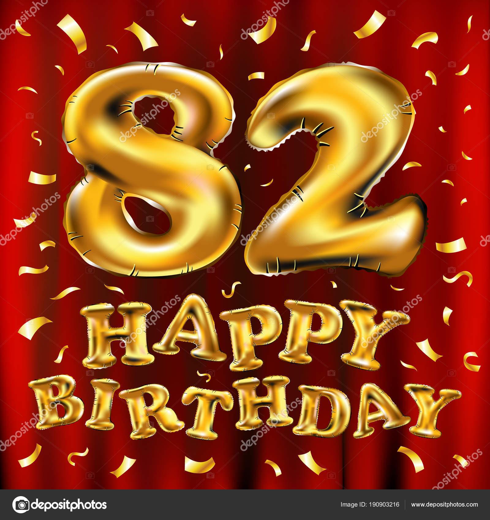 Auguri Di Buon Compleanno 84 Anni.Vettore Di Buon Compleanno 82esima Celebrazione Oro