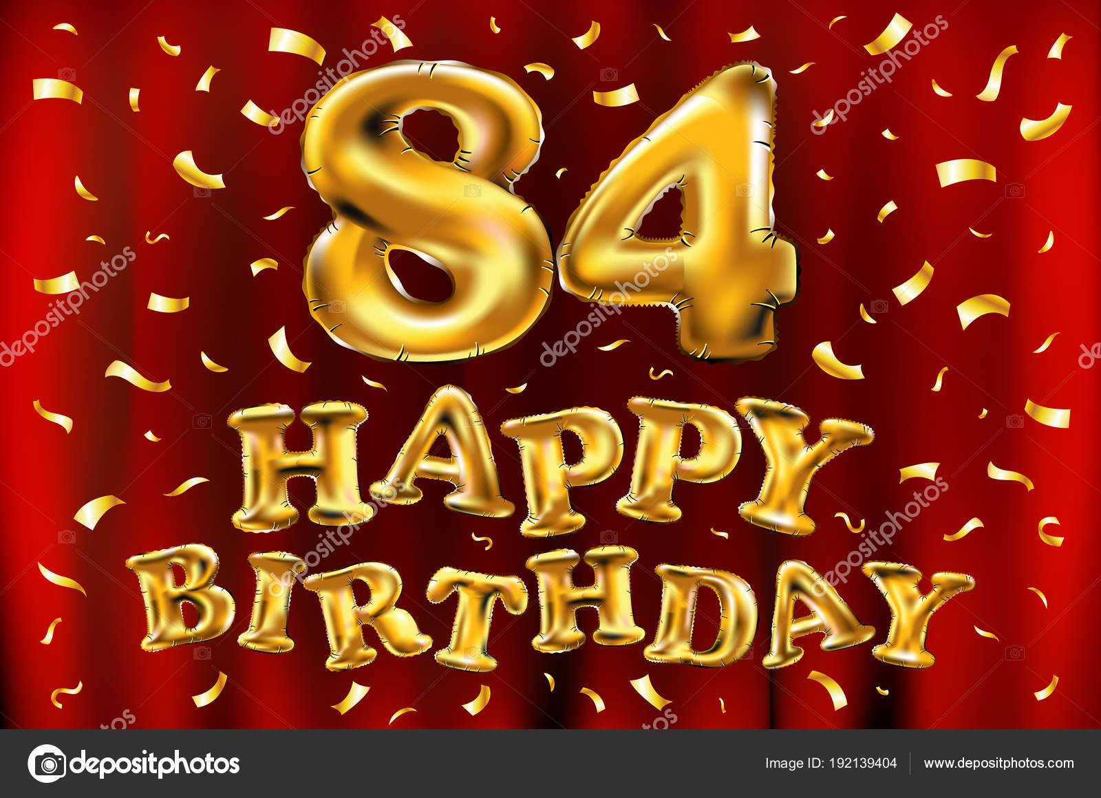 Auguri Buon Compleanno 66 Anni.Vettore Di Buon Compleanno 84esimo Celebrazione Oro