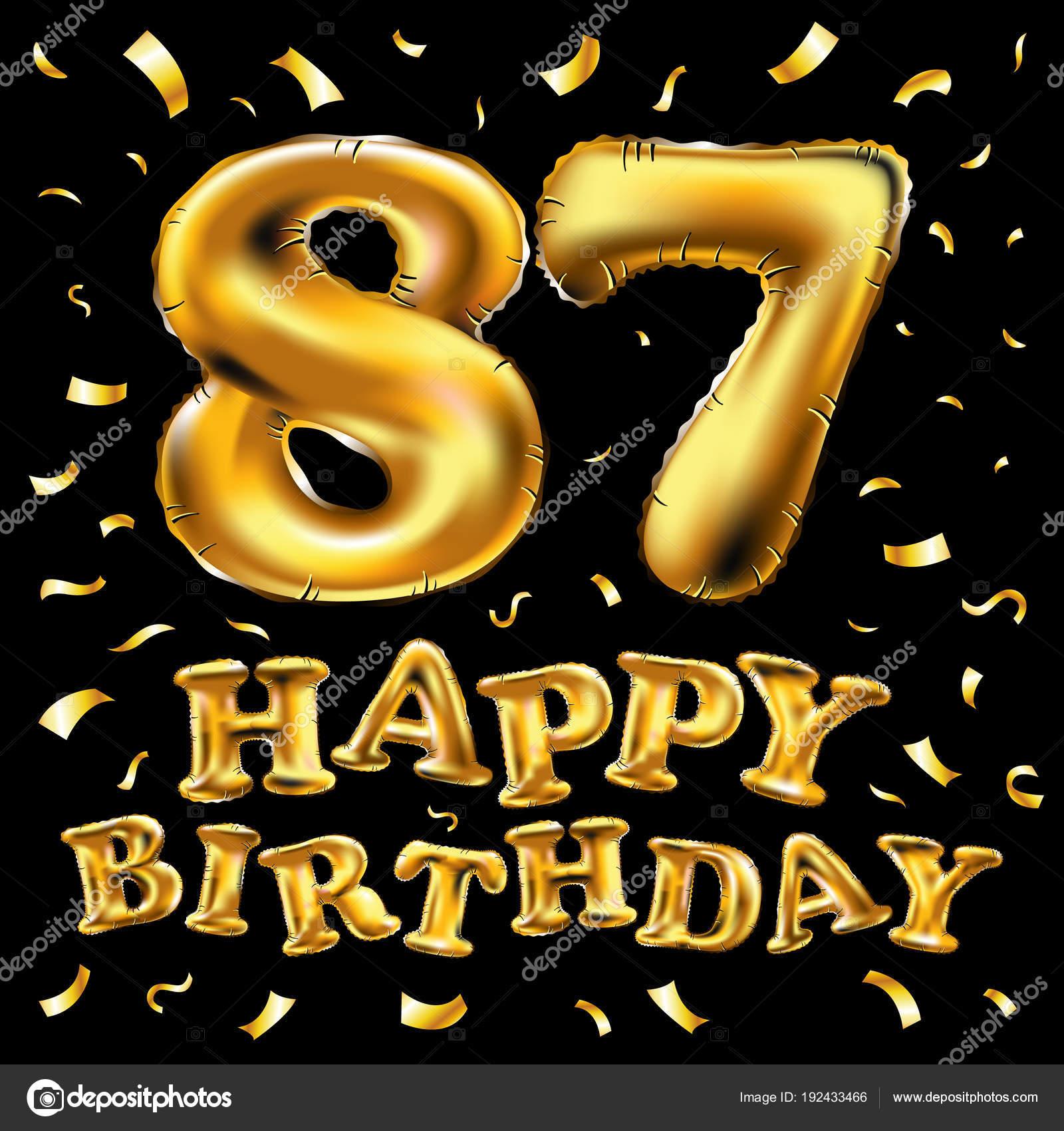 Auguri Di Buon Compleanno 84 Anni.Vettore Di Buon Compleanno 87 Celebrazione Oro Palloncini