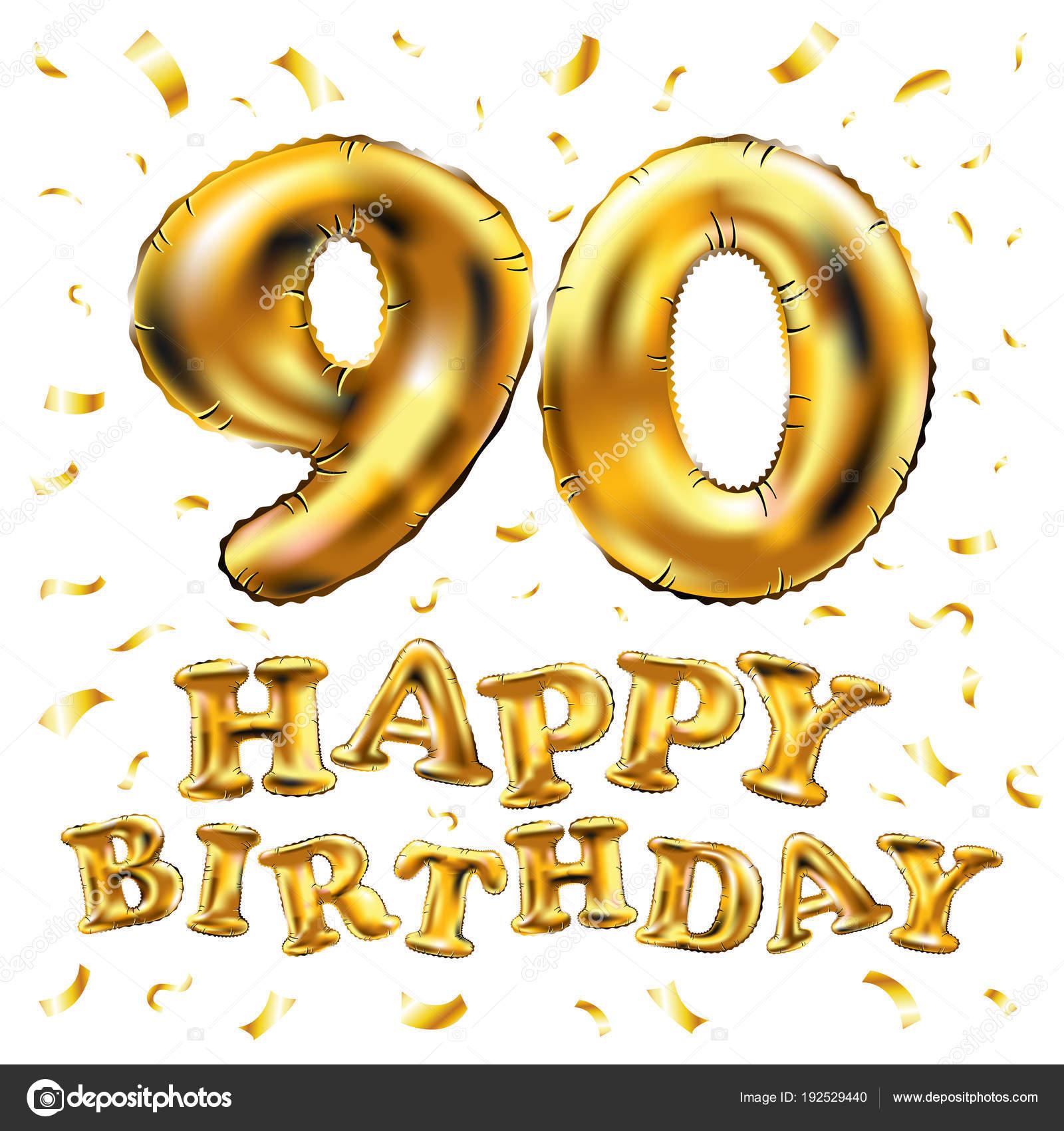 Super vector gelukkige verjaardag 90e viering gouden ballonnen en @LK59
