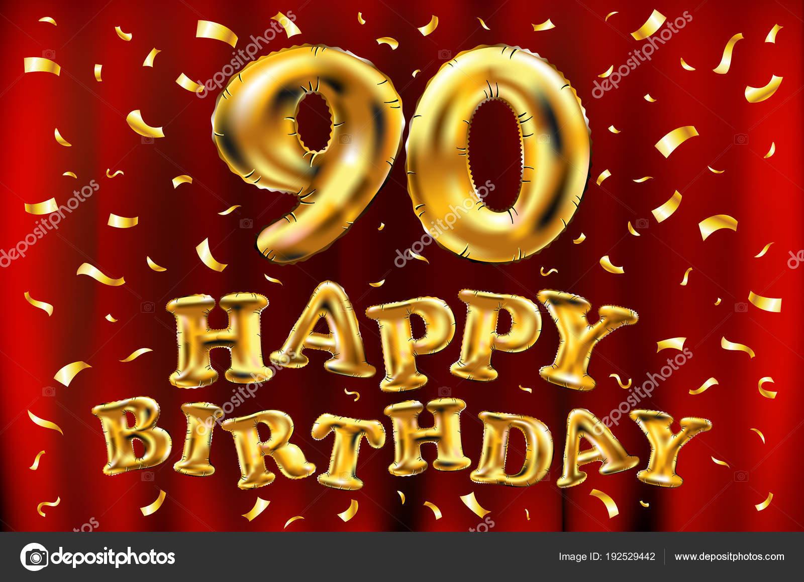 Vector De Feliz Cumpleaños 90 A Celebración Oro Globos Y