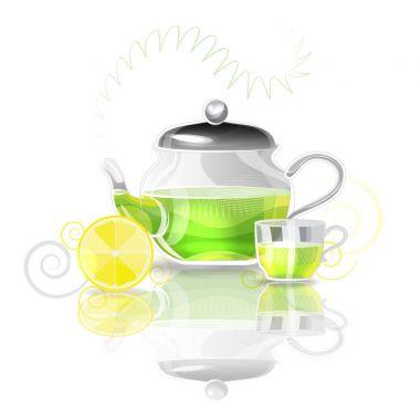 Tea pot and a cup of green tea