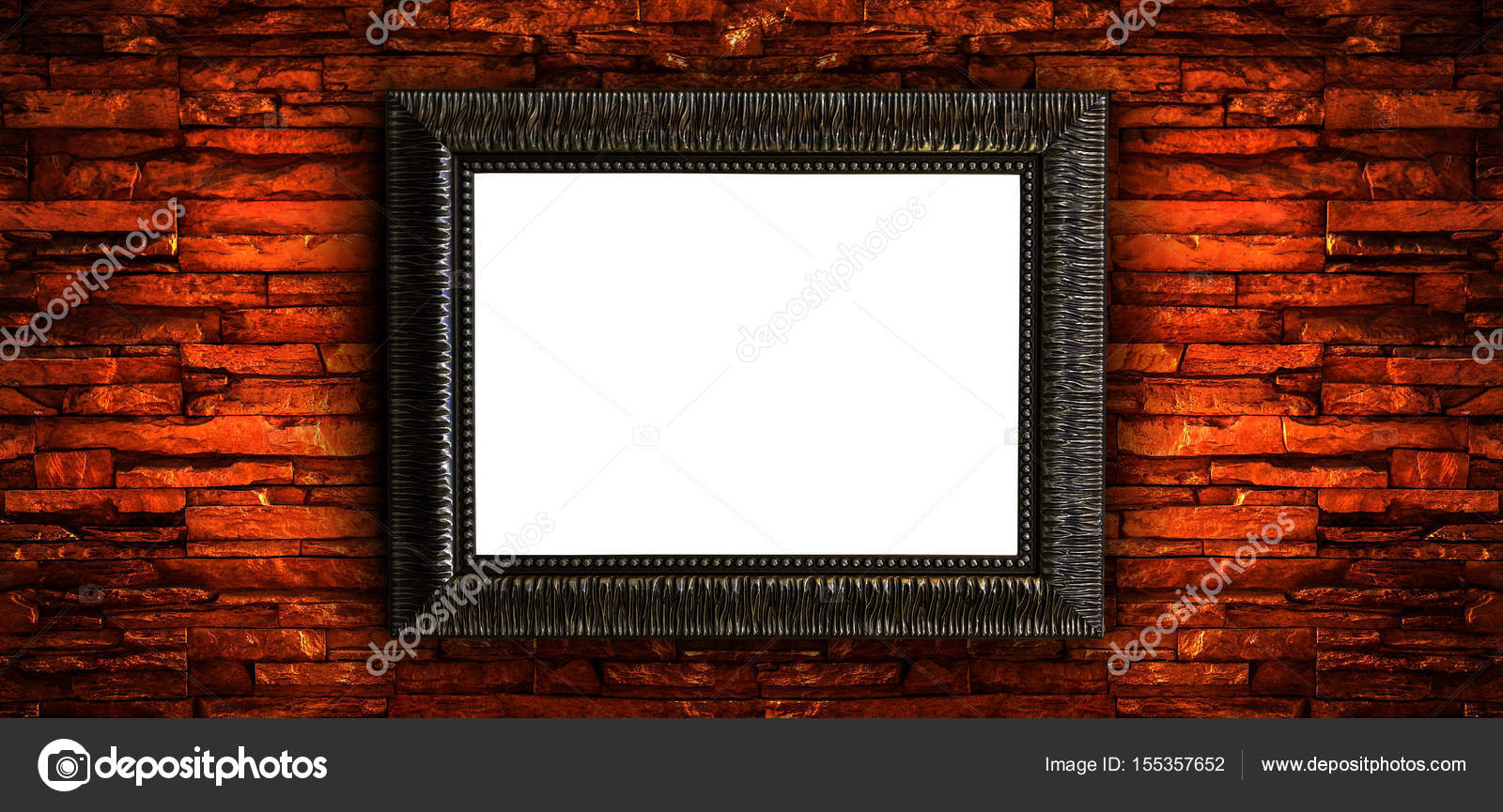 Vintage Bilderrahmen auf roten Backsteinmauer — Stockfoto ...