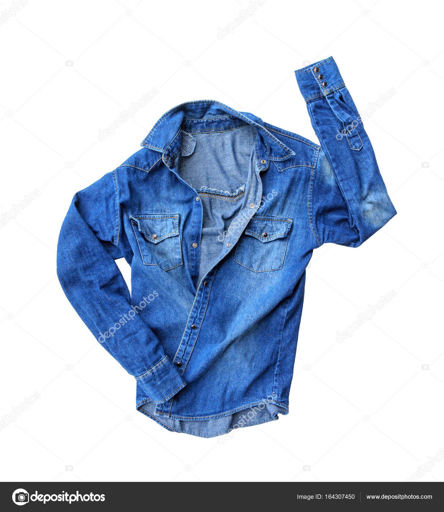 5fdadb86d26c Κοντινό πλάνο μπλε τζιν τζιν πουκάμισο που απομονώνονται σε λευκό φόντο — Εικόνα  από thawornnulove