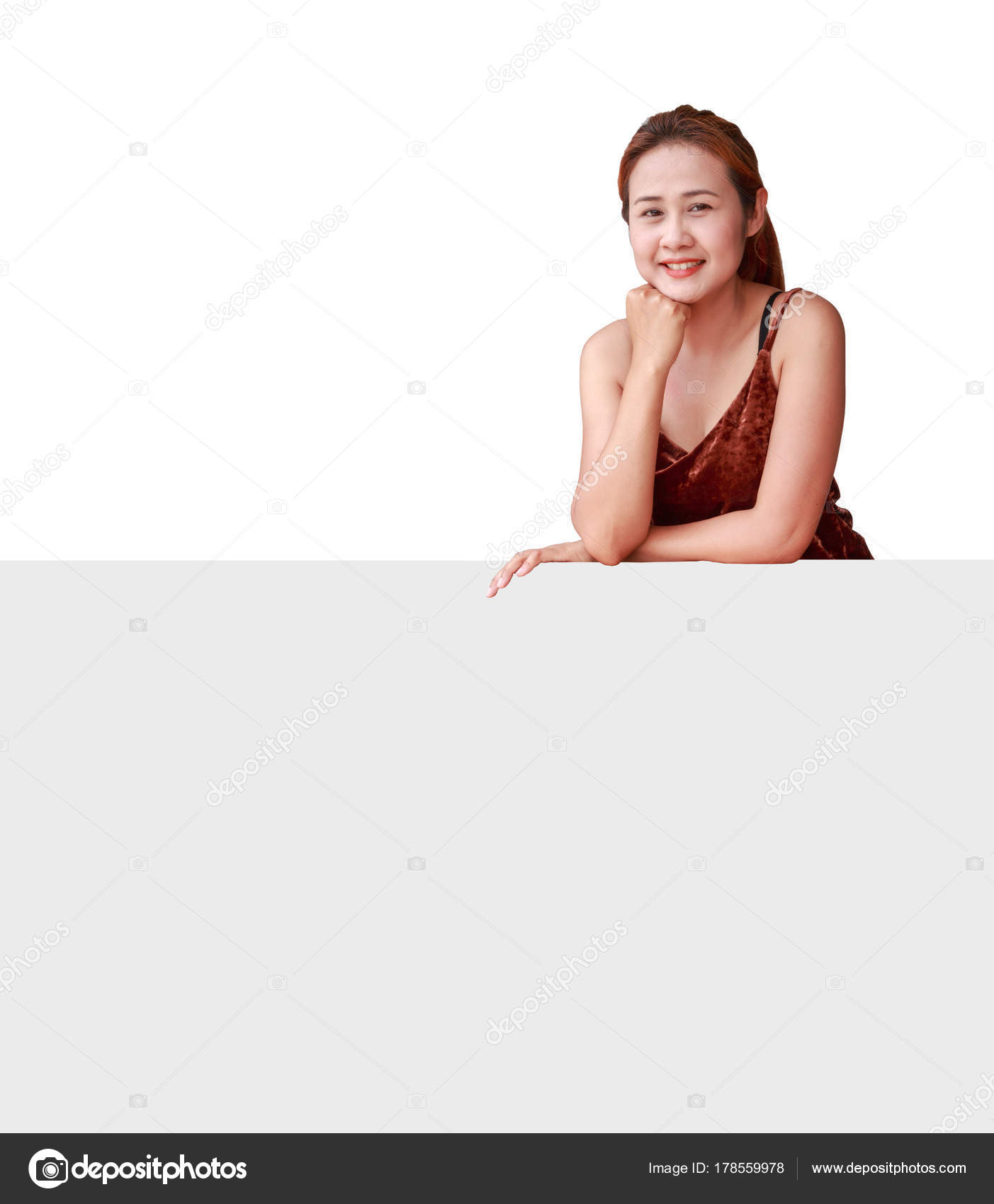 woman showing blank board stock photo thawornnulove 178559978