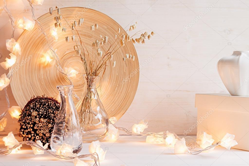 Witte Kerst Huis : Kerst huis decoratie met lampjes op witte houten achtergrond