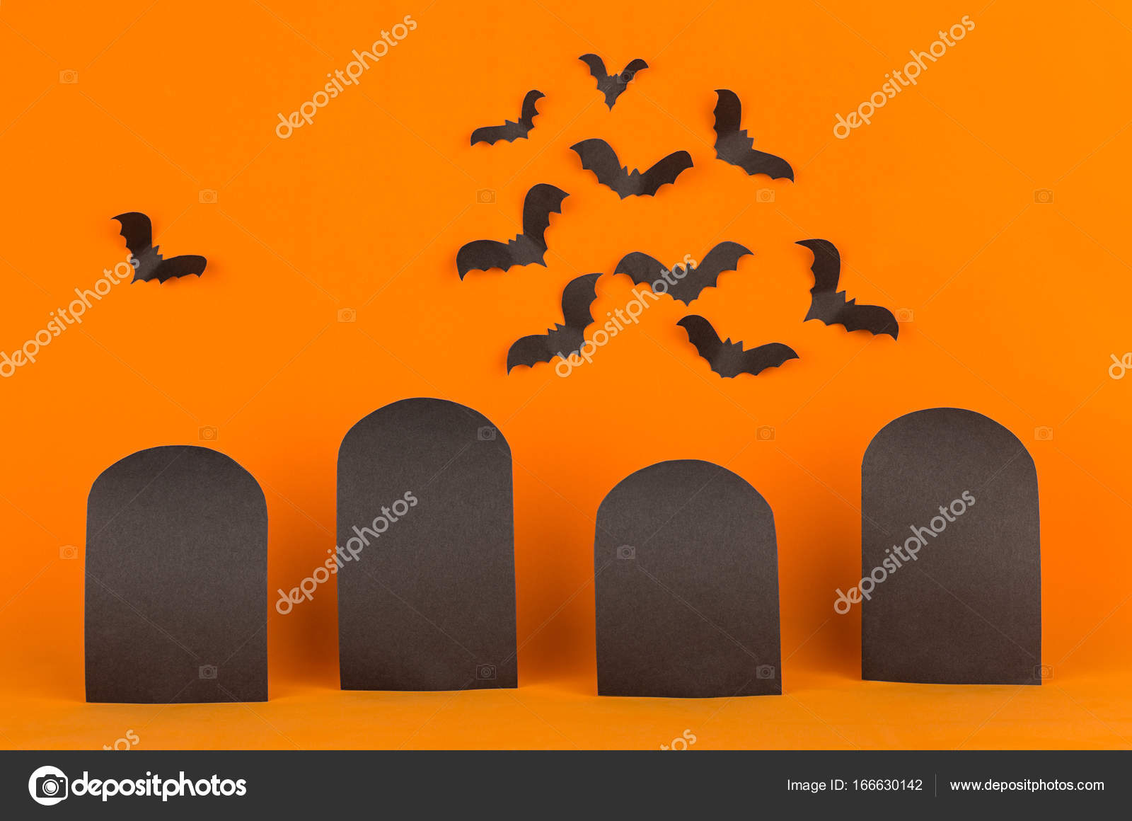 fun halloween orange background with blank labels and bats flock