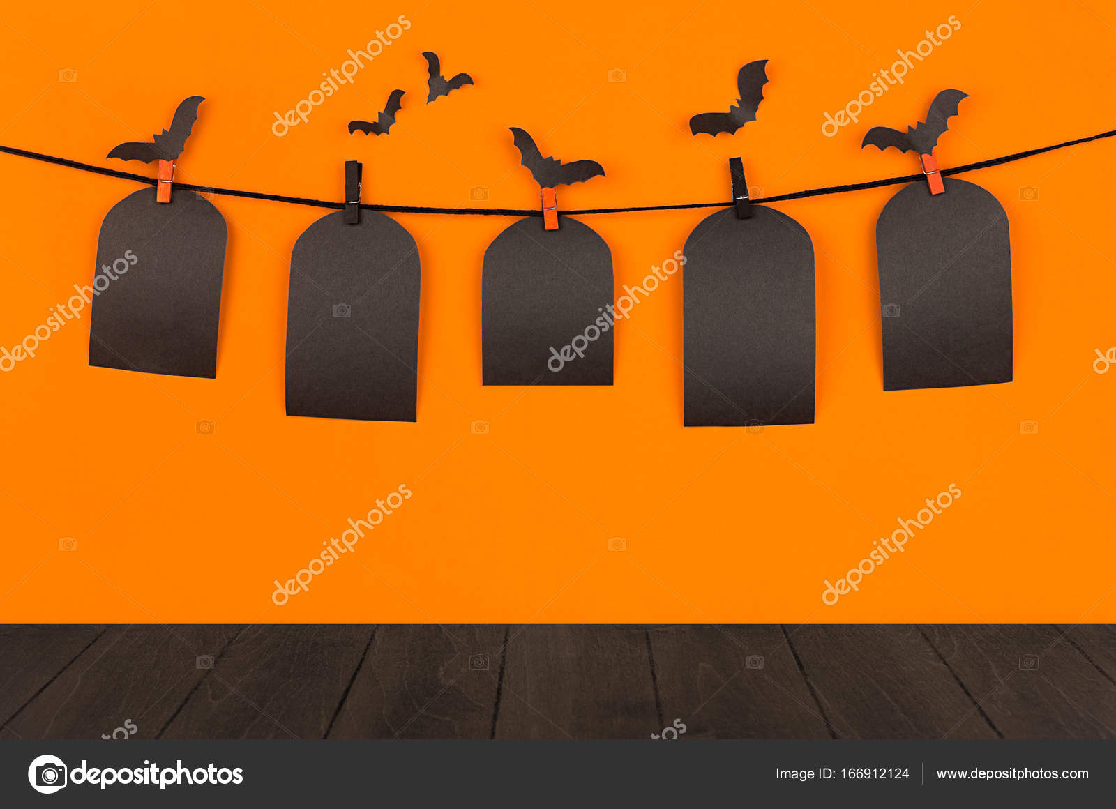 halloween fun orange background with black blank sale labels and