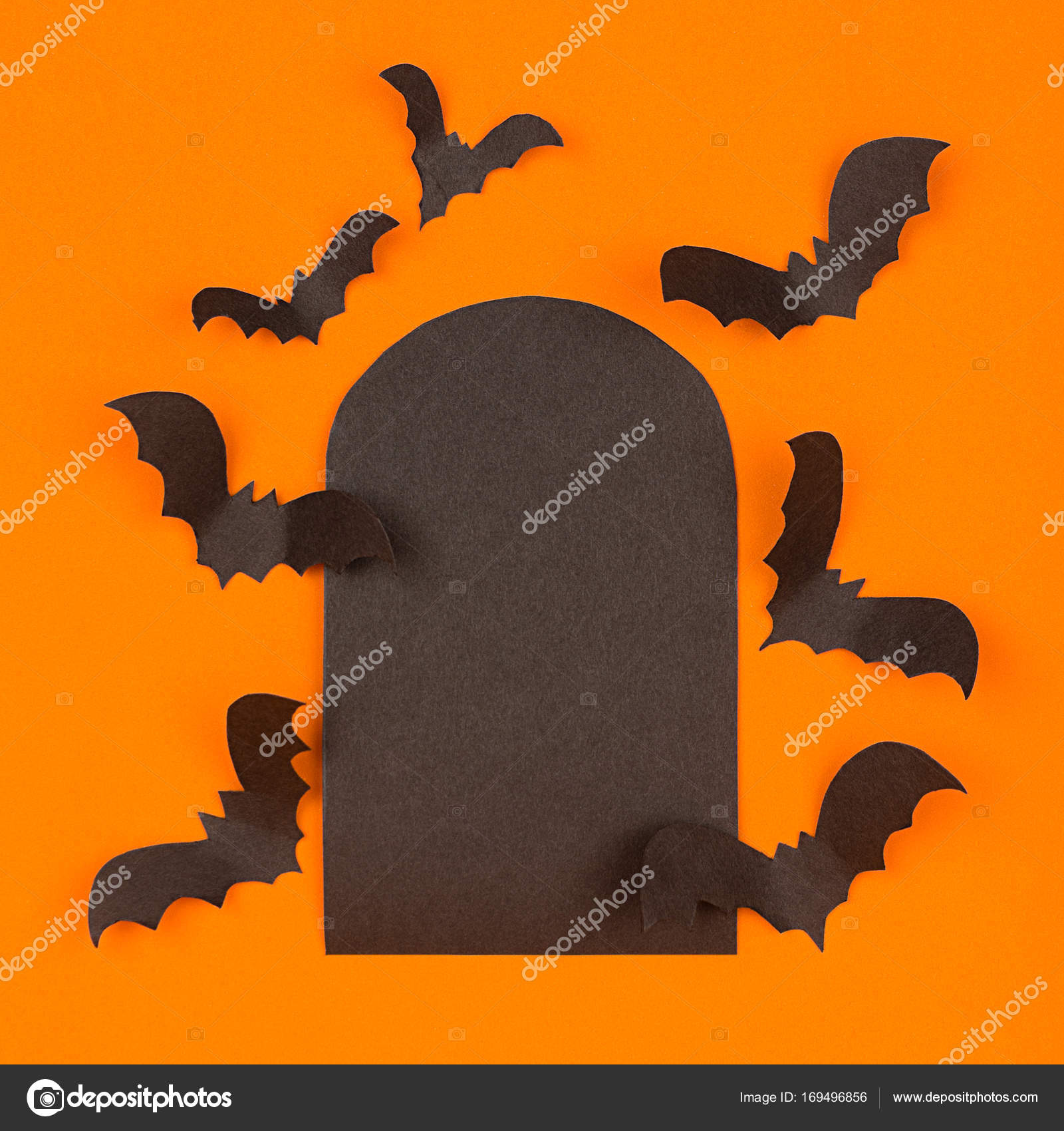fun halloween orange background mock up stock photo