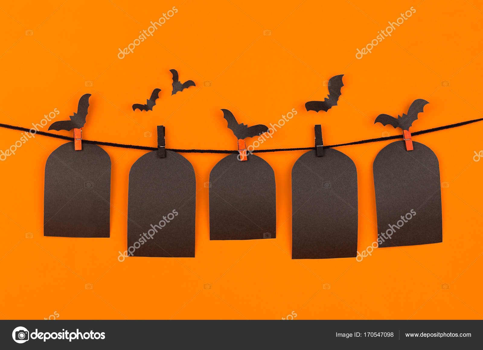 halloween black blank labels tomb on orange background mock up