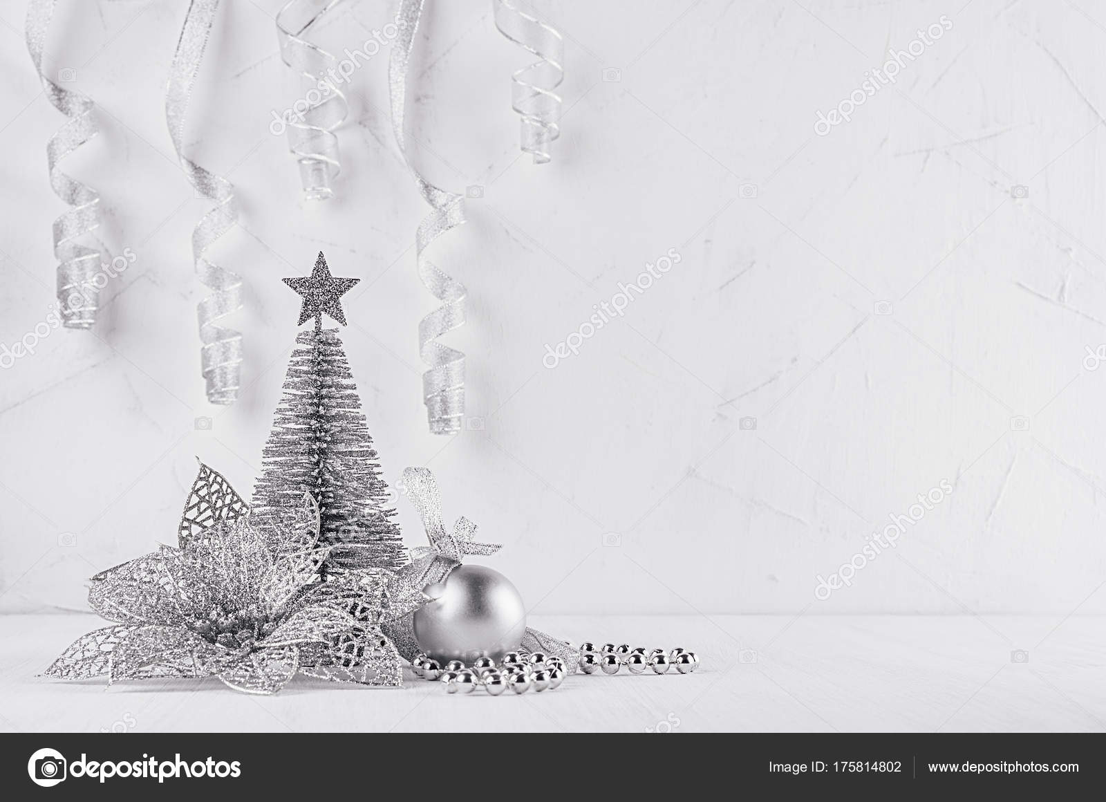 Weihnachtsstern Für Tannenbaum.Silbernen Glitzer Weihnachtsbaum Und Weihnachtsstern Auf Modernen