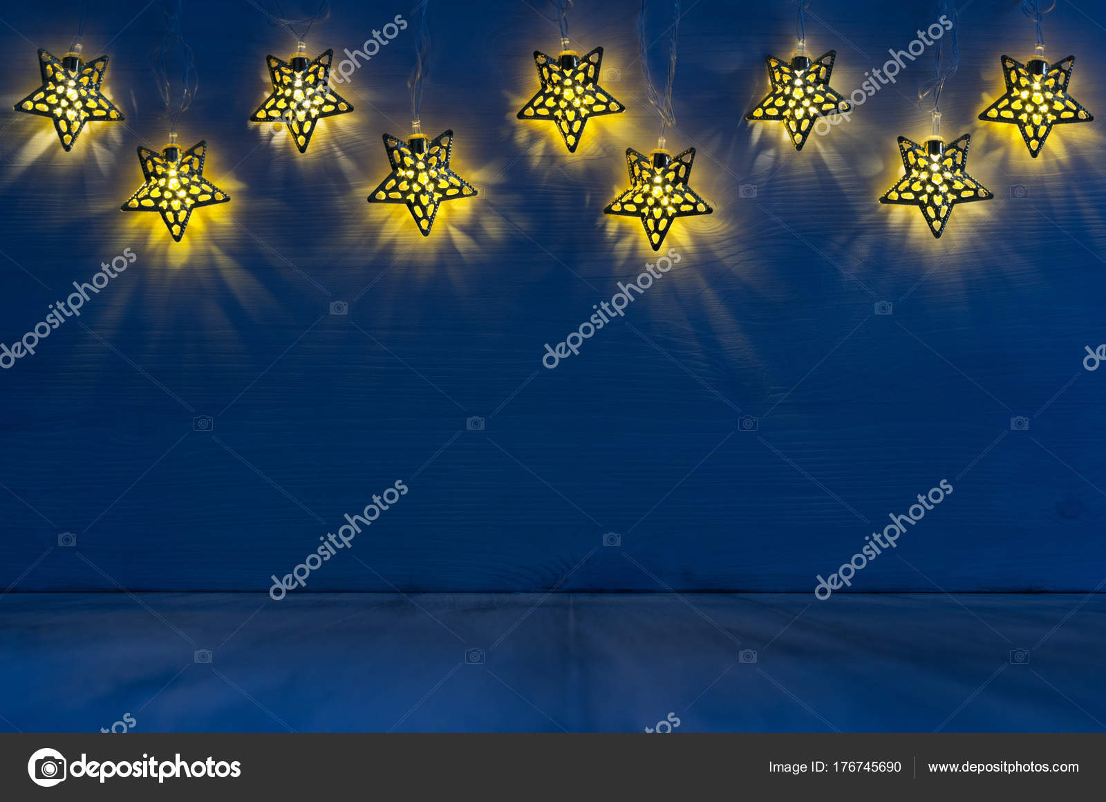 Festive Home Decor Yellow Stars Lights Blue Wood Board U2014 Stock Photo