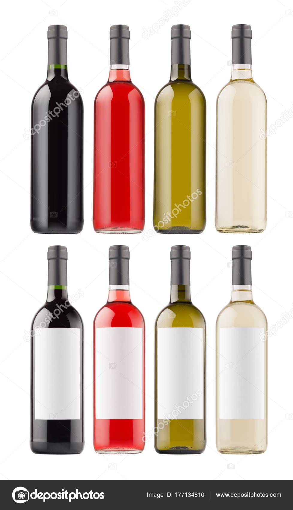 Wein Flaschen Kollektion Mit Leeren Weißen Aufkleber Und Ohne ...