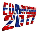 Fotografia illustrazione 3D. Il testo di Eurovision 2017 con struttura della bandierina del paese che partecipano su un fondo bianco